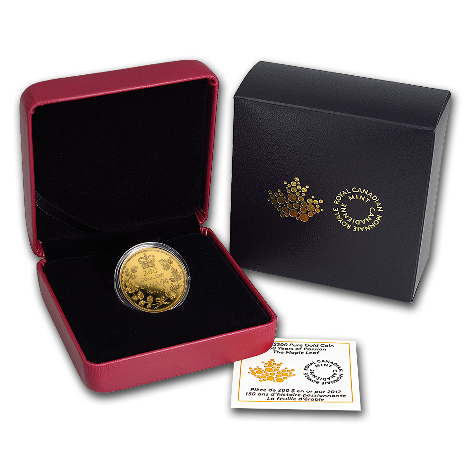 2017 Canada 1 oz Proof Gold $200 150 Years of Passion: Maple Leaf