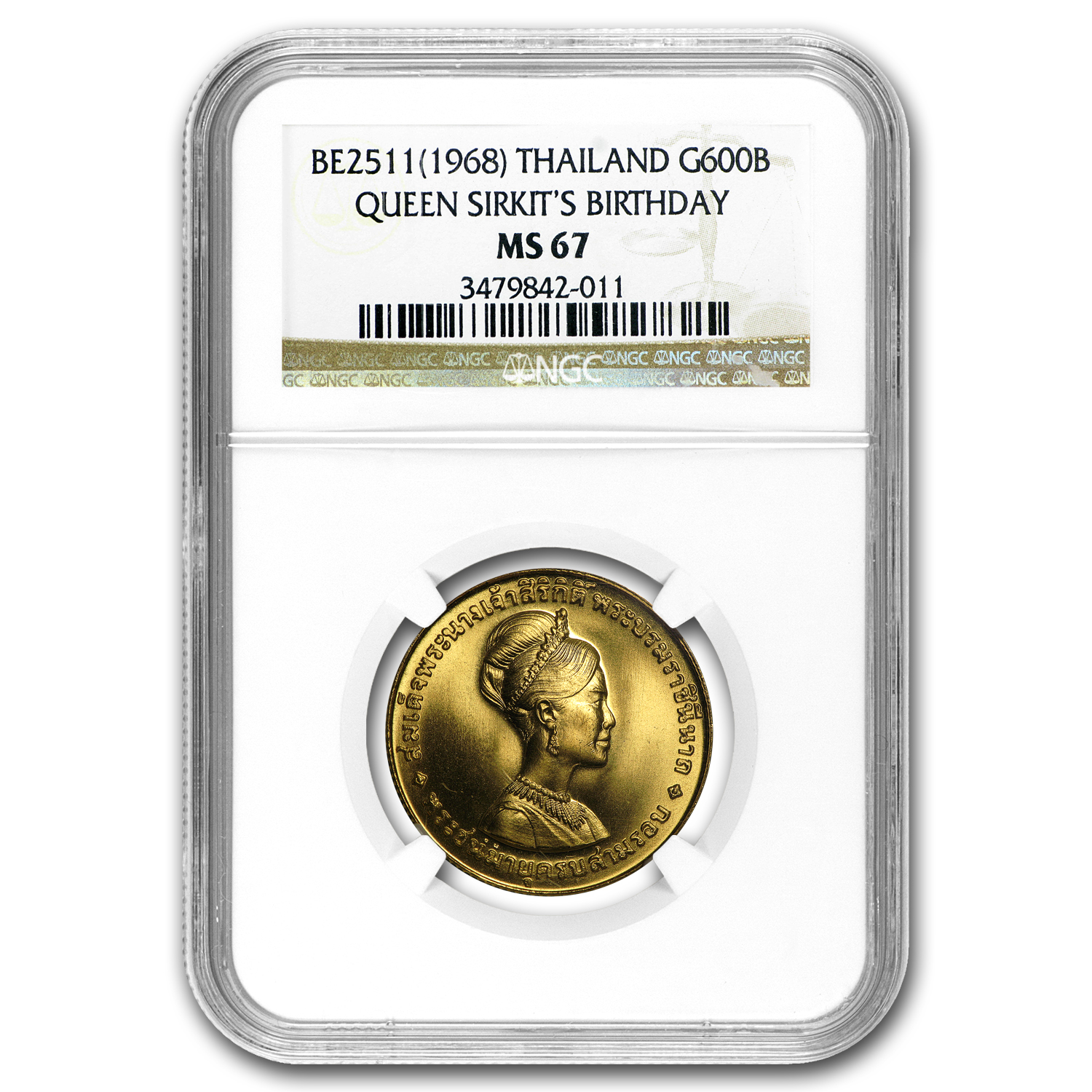 1968 Thailand Gold 600 Baht 36th Birthday Queen Sirkit MS-67 NGC