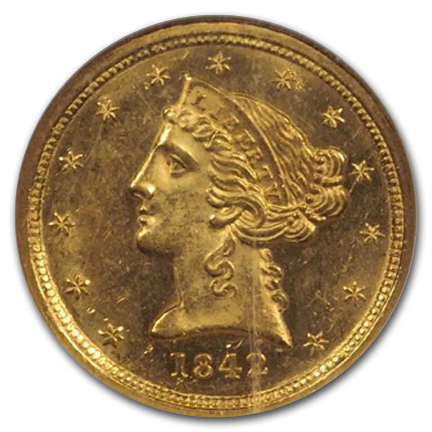 1842-C $5 Liberty Gold Half Eagle Small Date MS-63 NGC (CAC)
