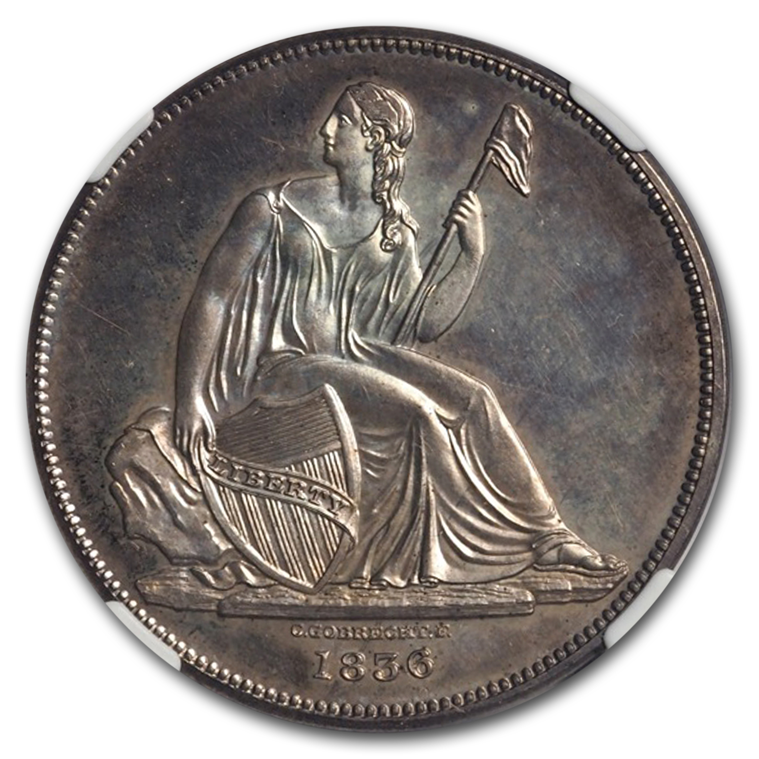 1836 Gobrecht Liberty Seated Dollar Proof-64 NGC (J-58)