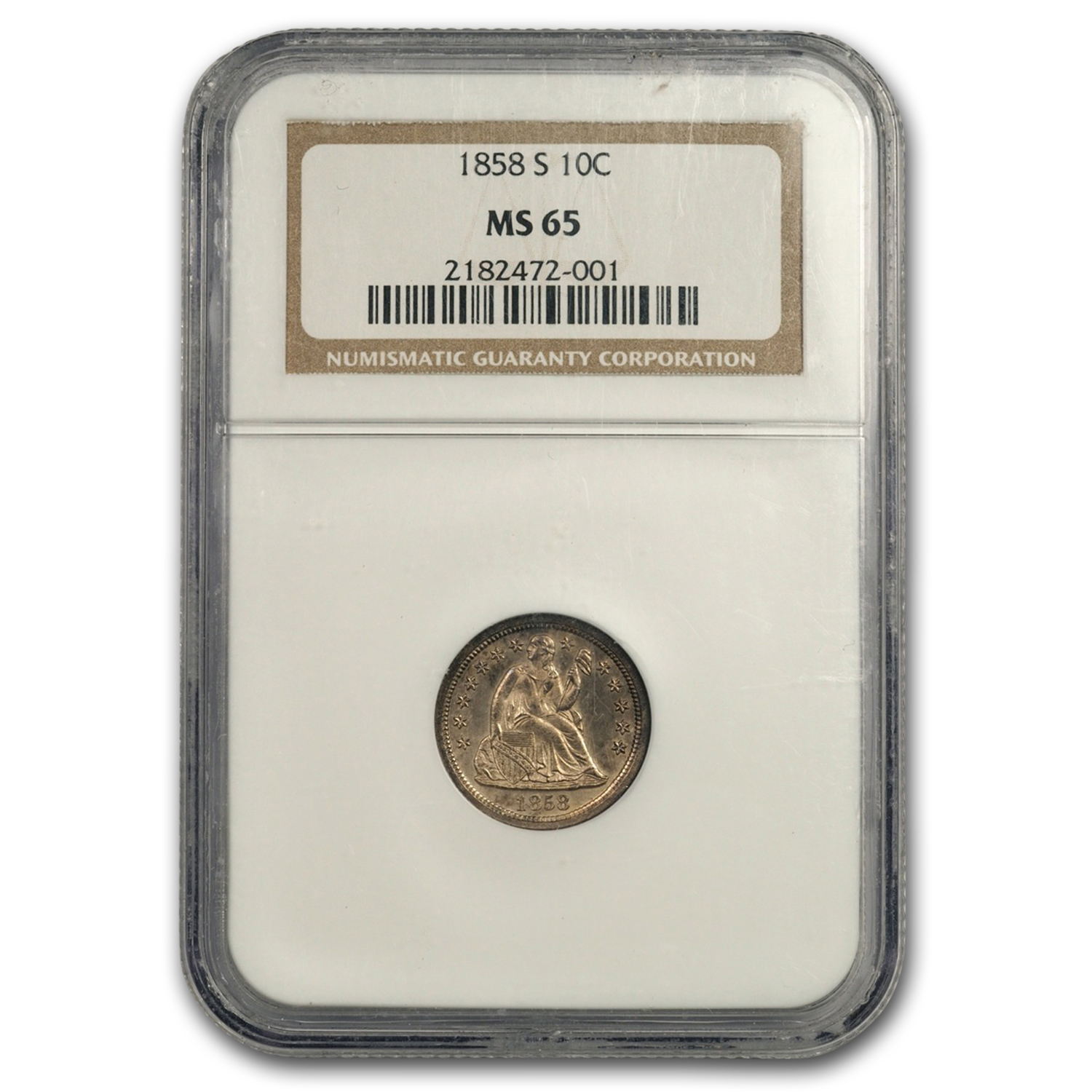 1858-S Liberty Seated Dime, F-101, MS-65 NGC