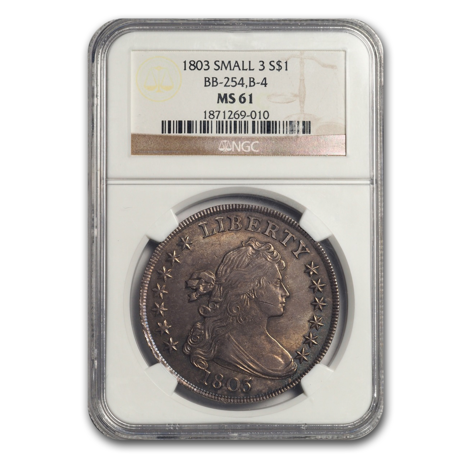 1803 Draped Bust Dollar Small 3 MS-61 NGC