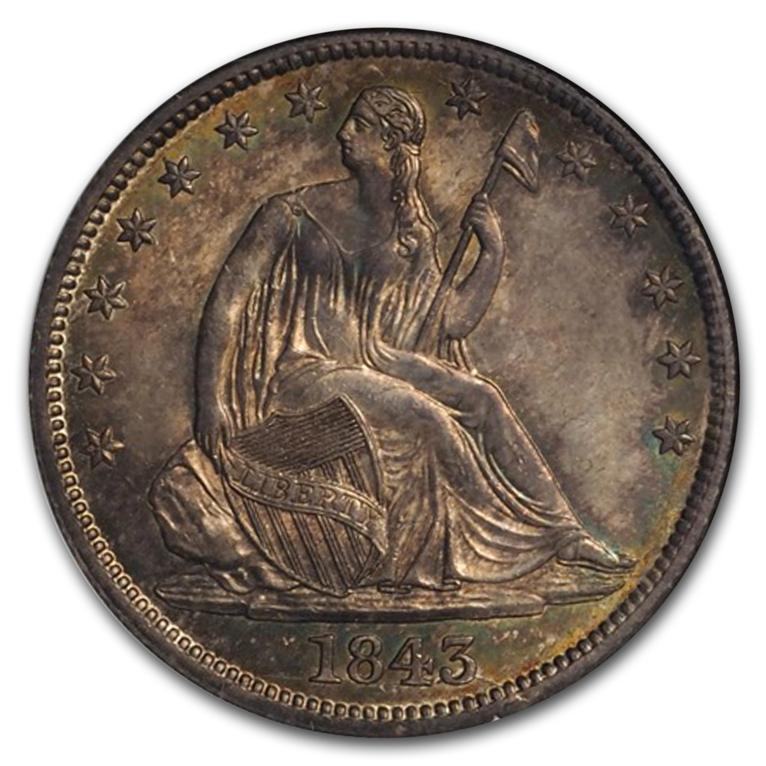 1843 Liberty Seated Half Dollar MS-66 NGC