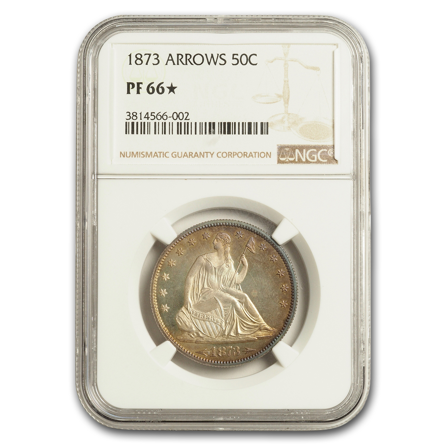 1873 Liberty Seated Half Dollar w/Arrows Proof-66 * STAR NGC