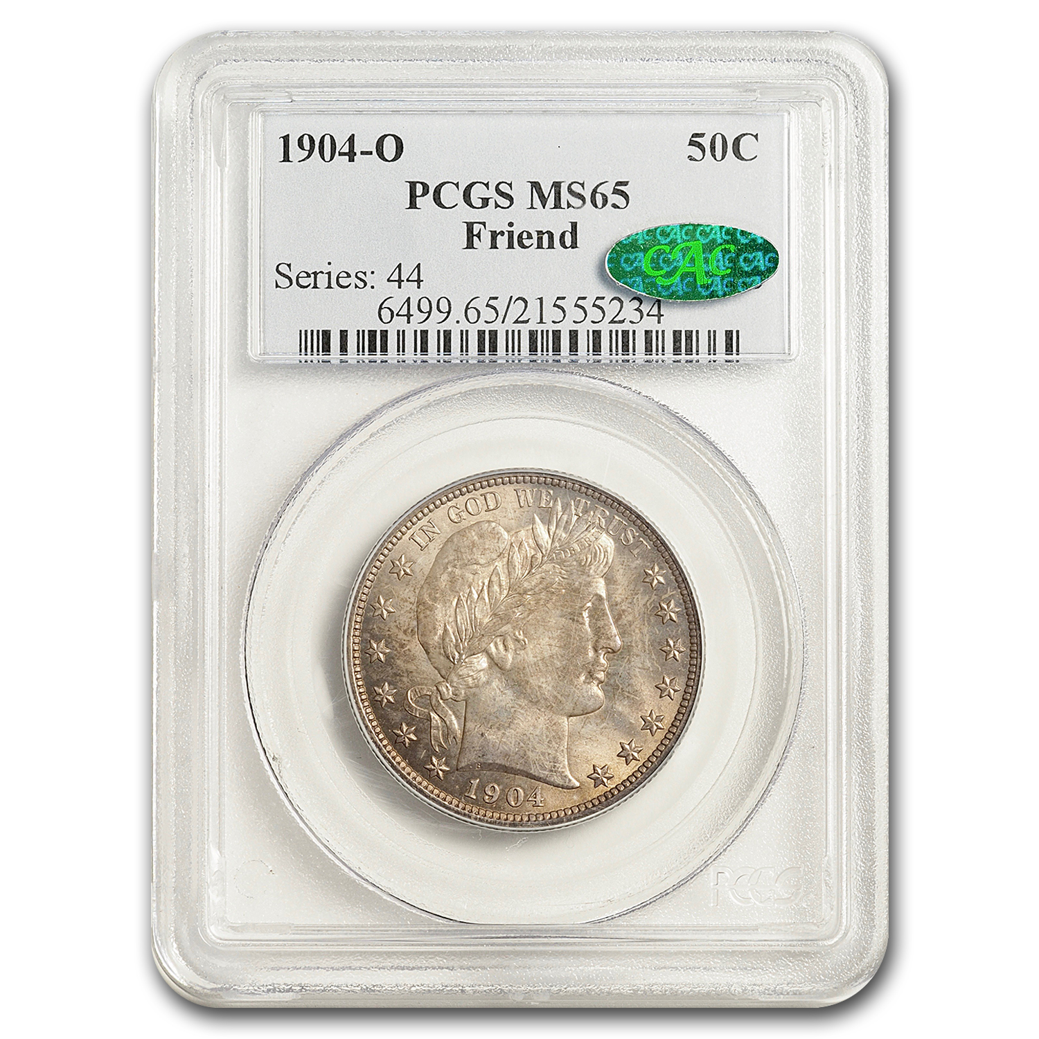 1904-O Barber Half Dollar MS-65 PCGS (CAC)