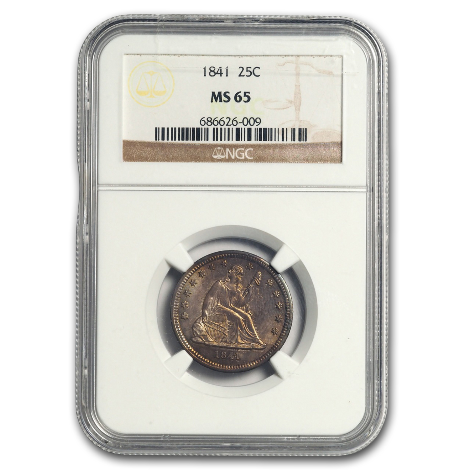 1841 Liberty Seated Quarter MS-65 NGC