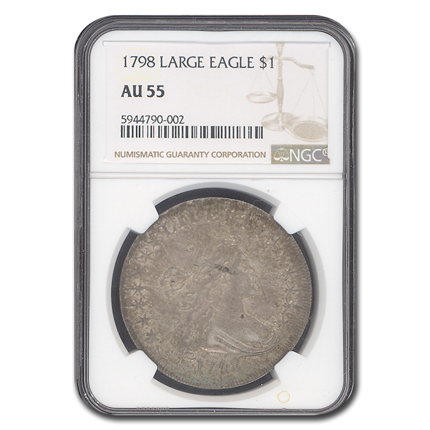 1798 Draped Bust Dollar Lg Eagle, Pointed 9, Wide Date, AU-55 NGC