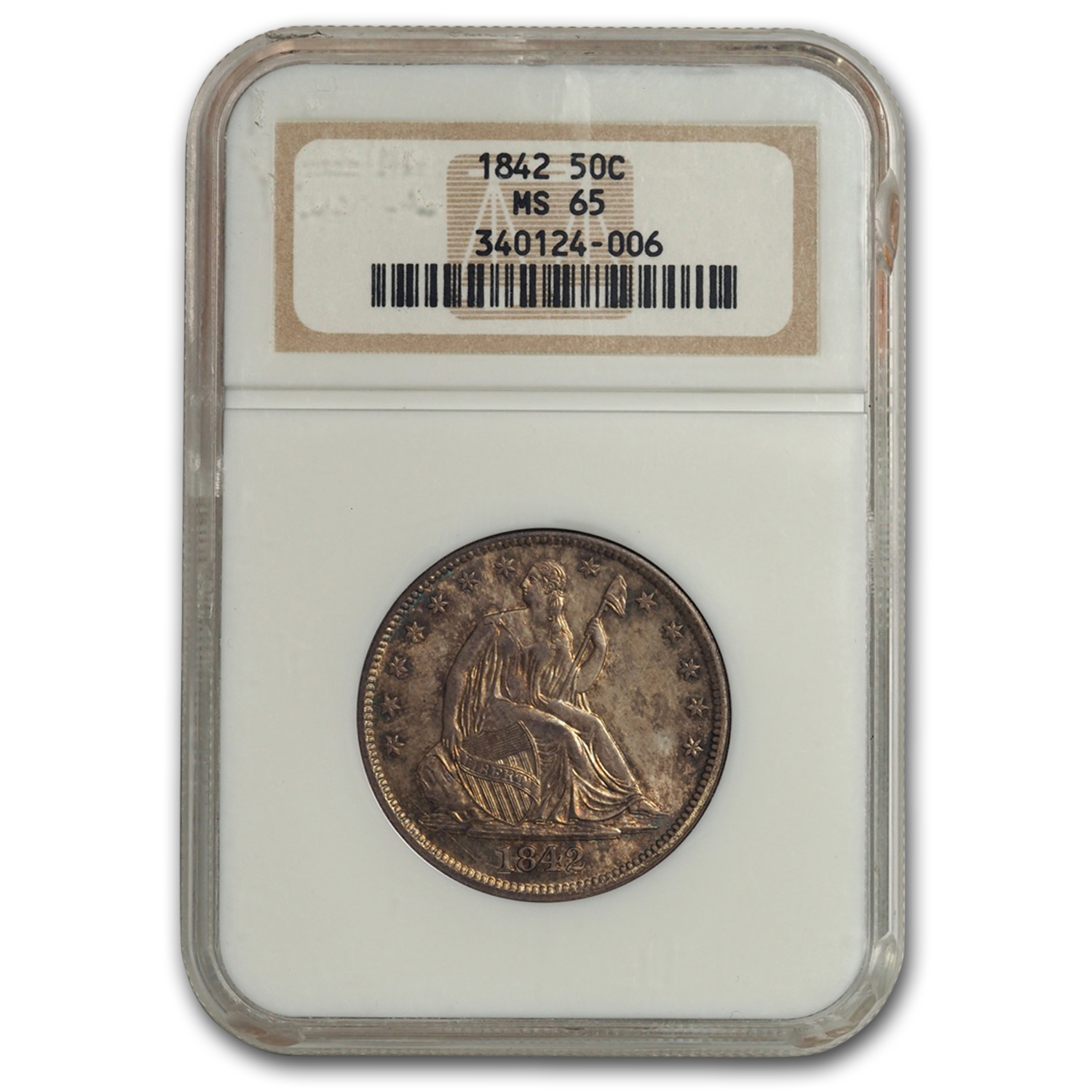 1842 Seated Liberty Half Dollar Med Date/Lg Letters MS-65 NGC
