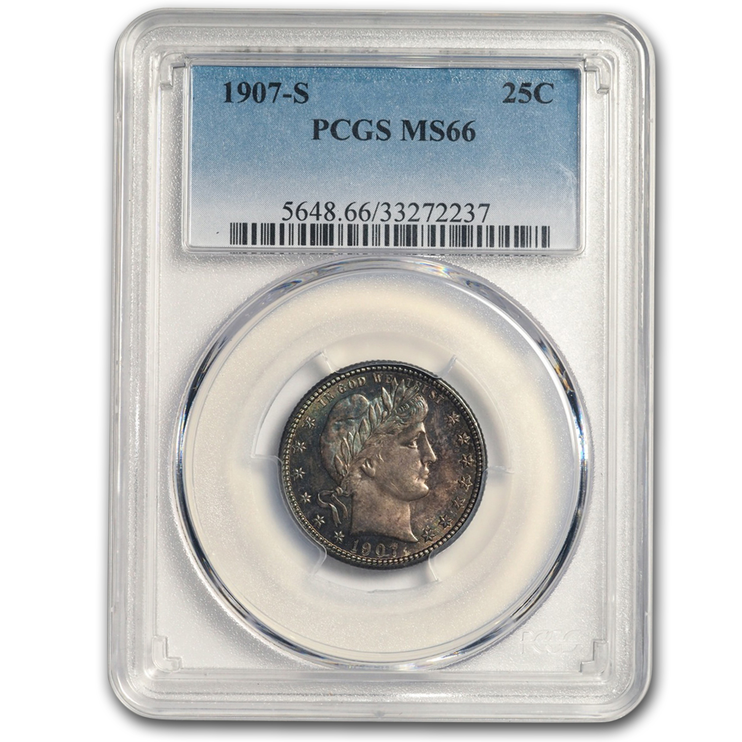 1907-S Barber Quarter Dollar MS-66 PCGS