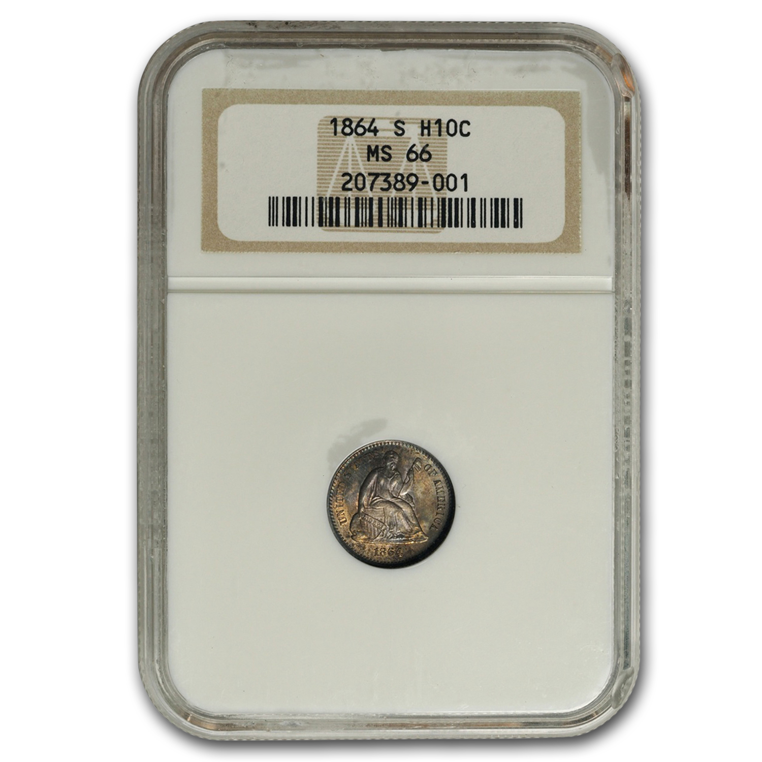 1864-S Liberty Seated Half Dime MS-66 NGC