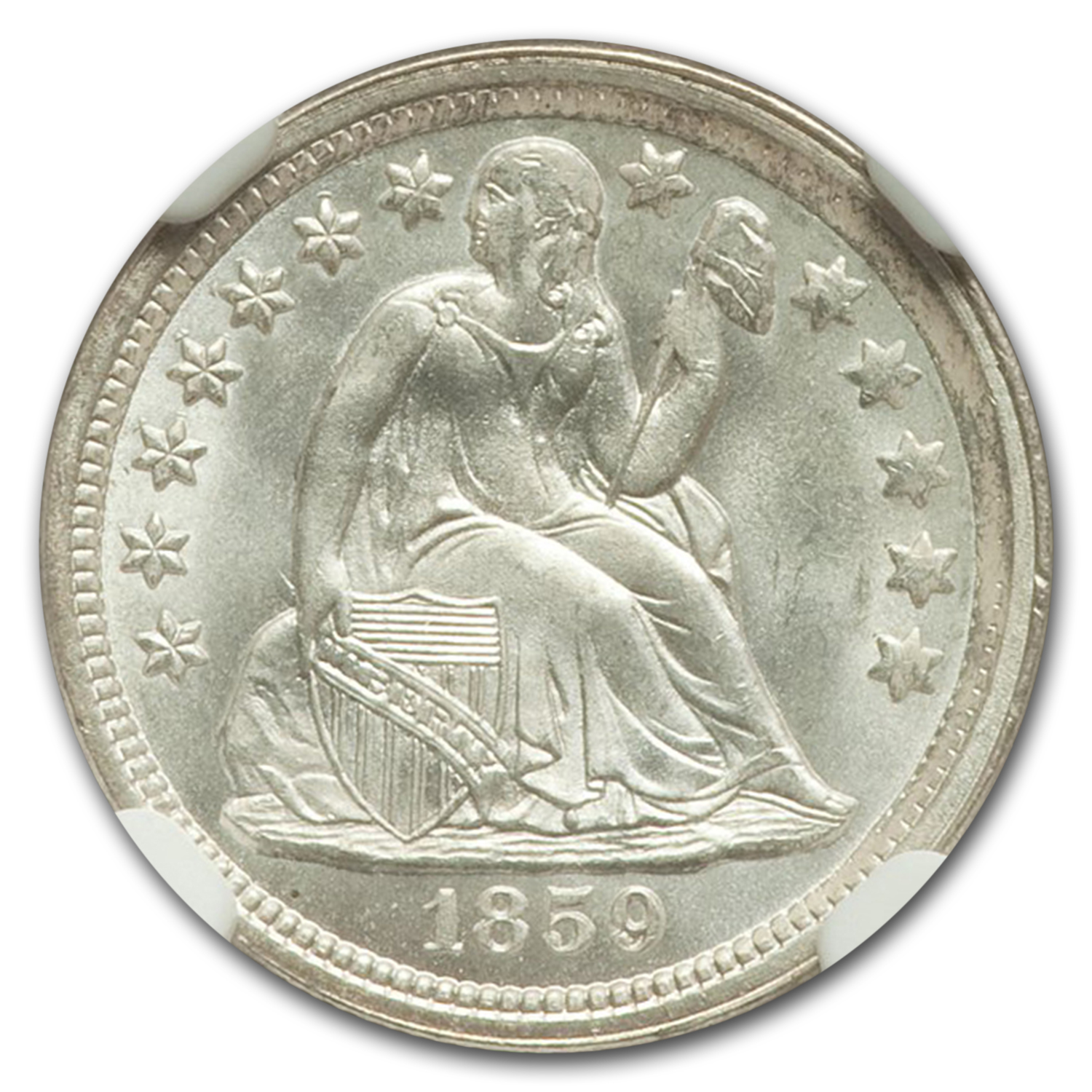 1859 Liberty Seated Dime MS-67 NGC (F-107)