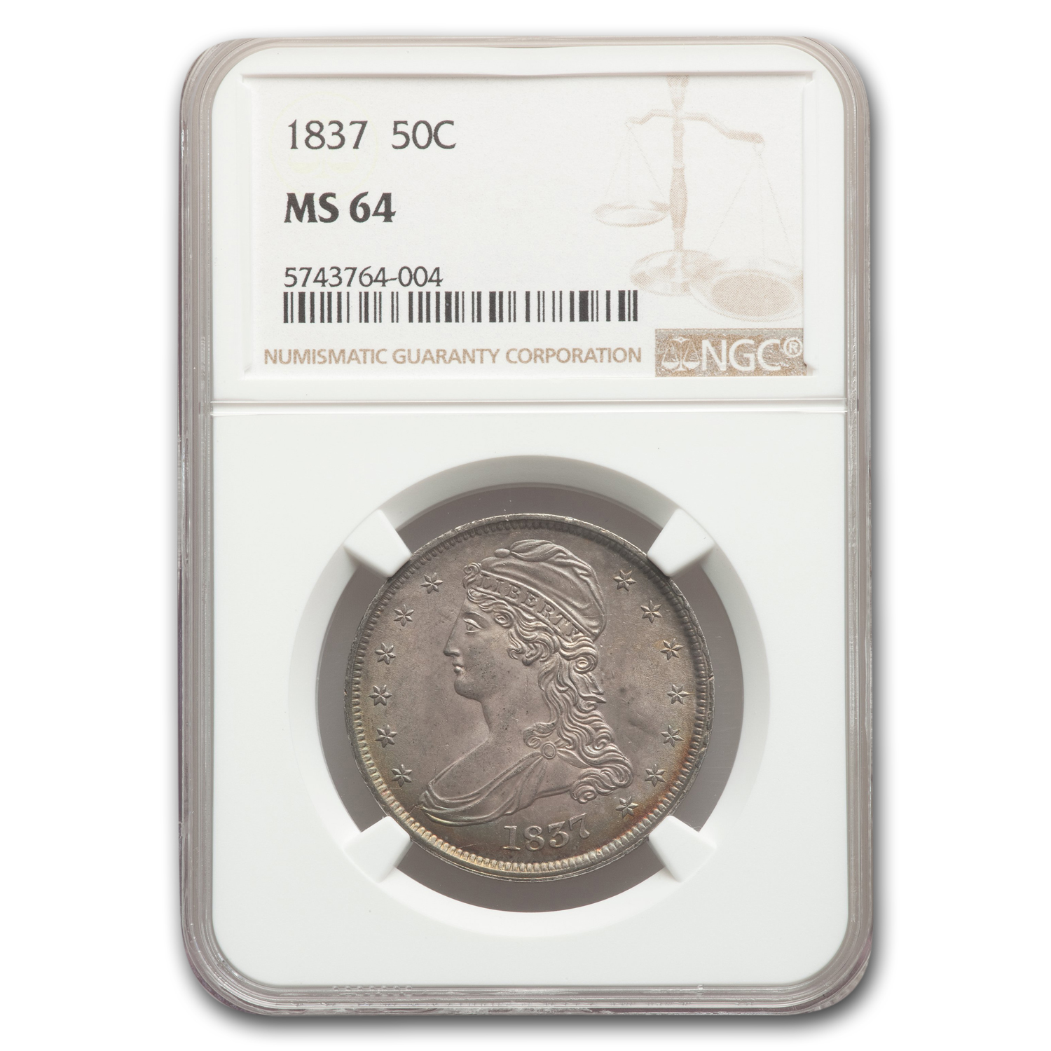 1837 Reeded Edge Half Dollar MS-64 NGC