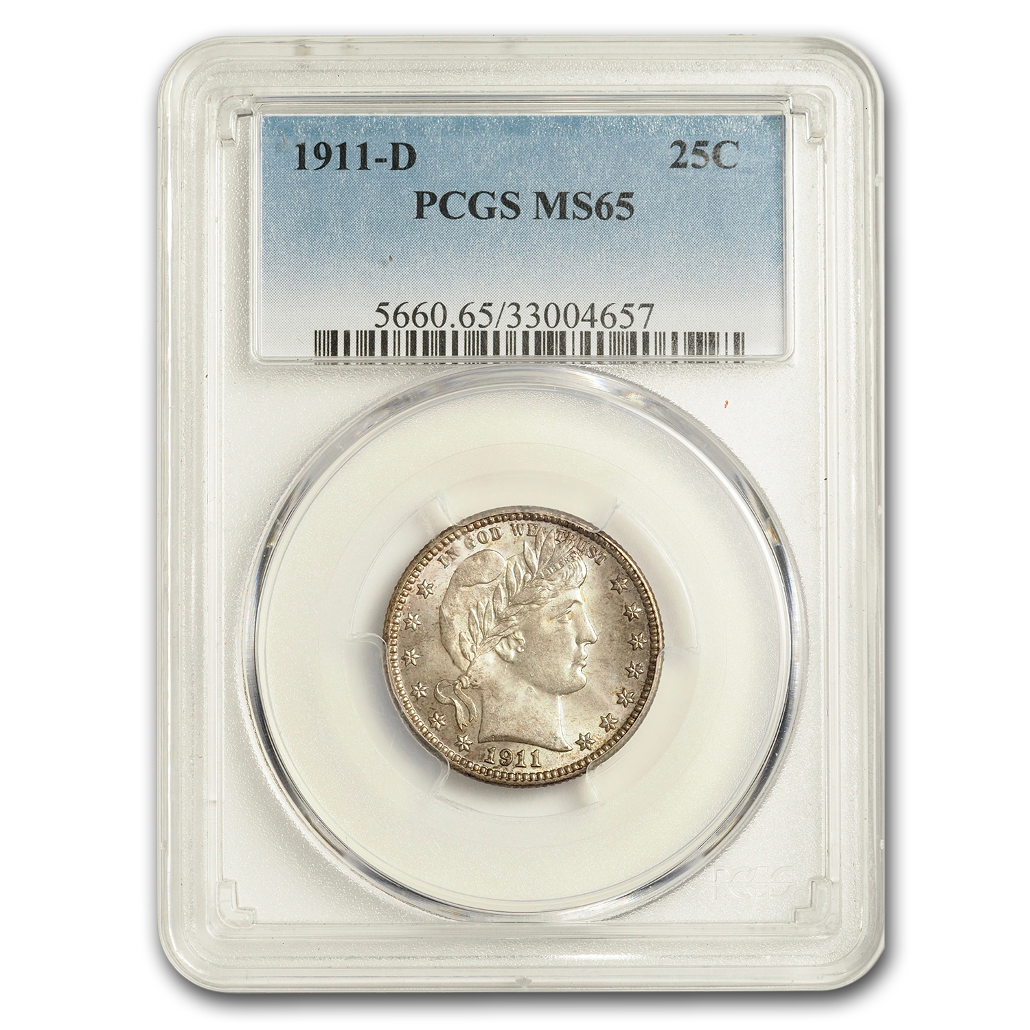 1911-D Barber Quarter MS-65 PCGS