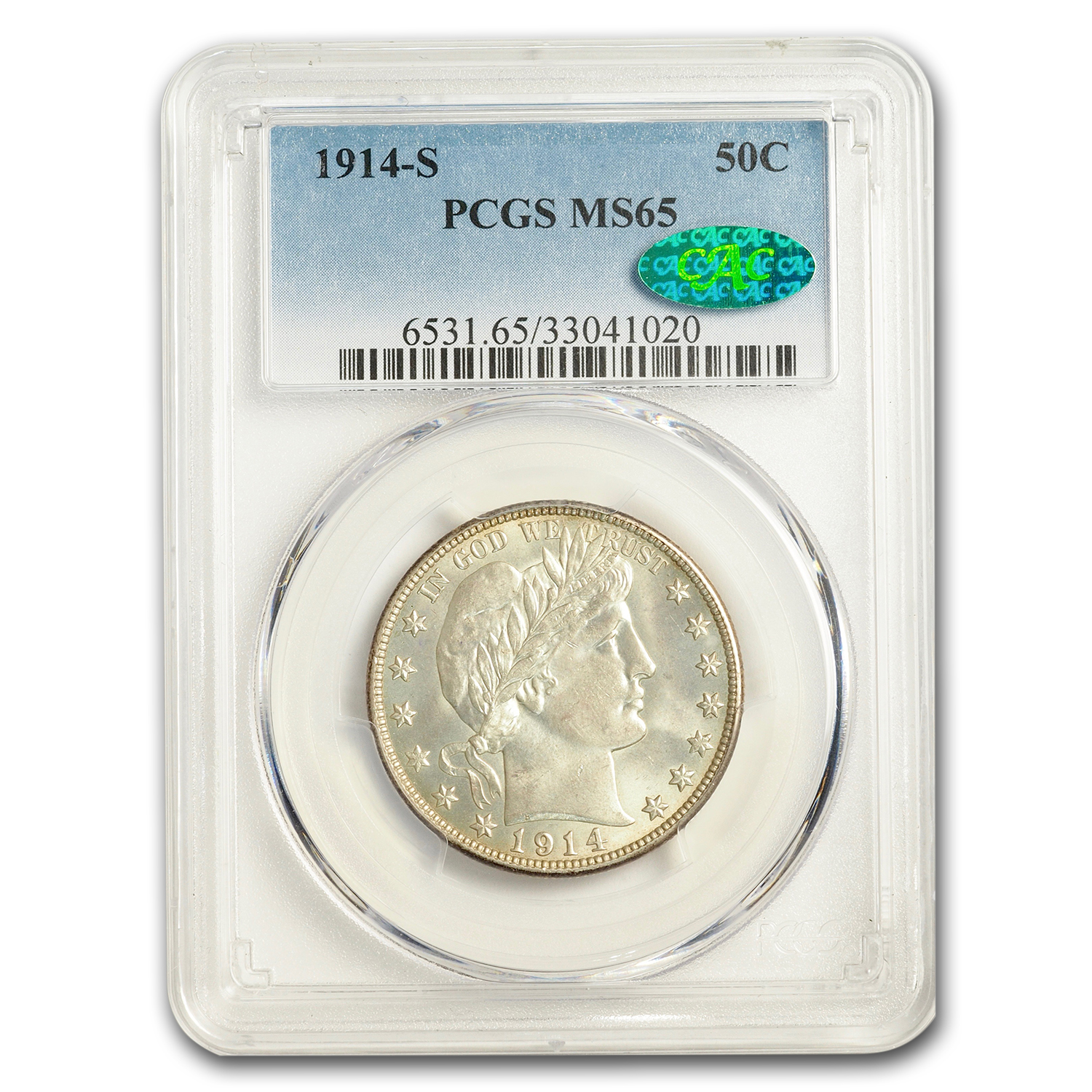 1914-S Barber Half Dollar MS-65 PCGS (CAC)