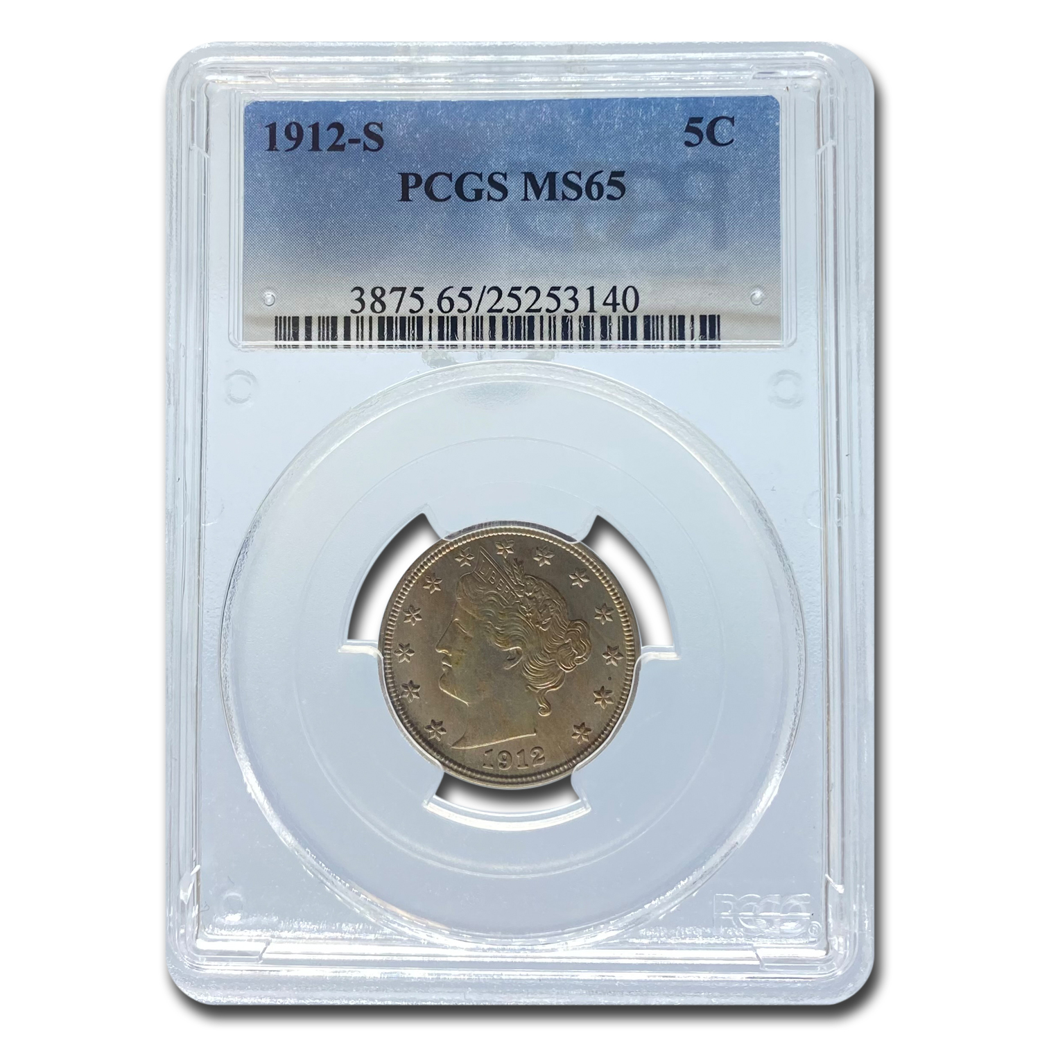 1912-S Liberty Head V Nickel MS-65 PCGS