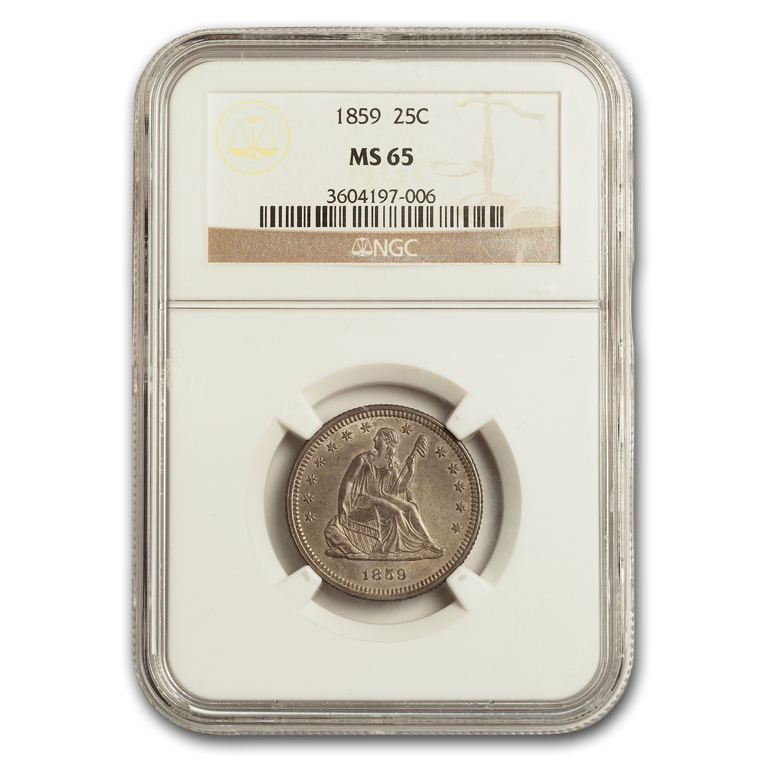 1859 Liberty Seated Quarter MS-65 NGC (Briggs-1A)