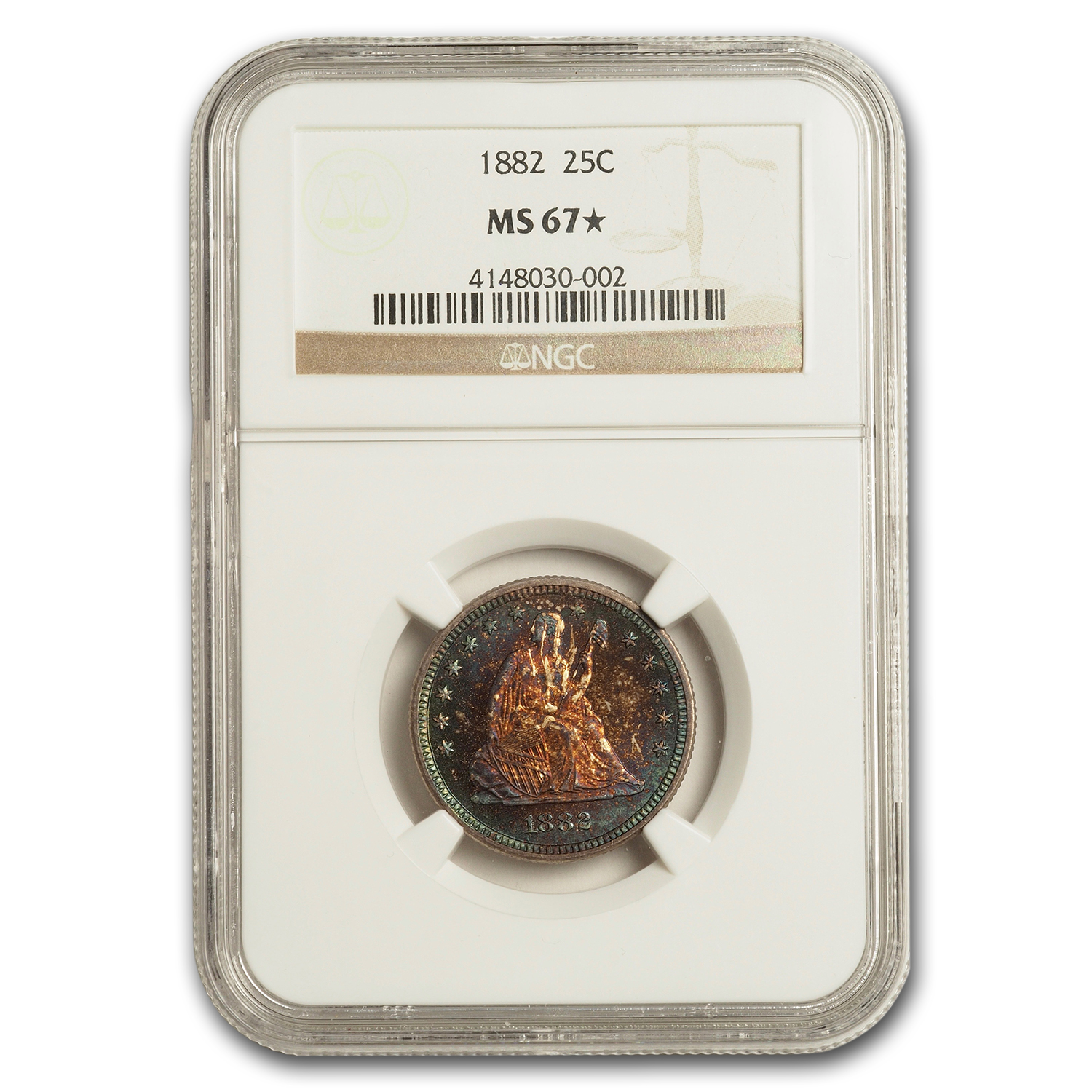 1882 Liberty Seated Quarter MS-67* STAR NGC