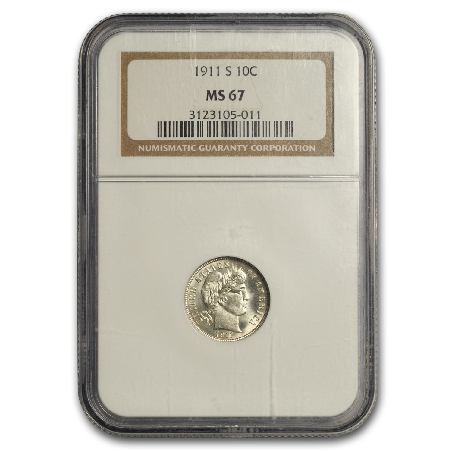 1911-S Barber Dime MS-67 NGC