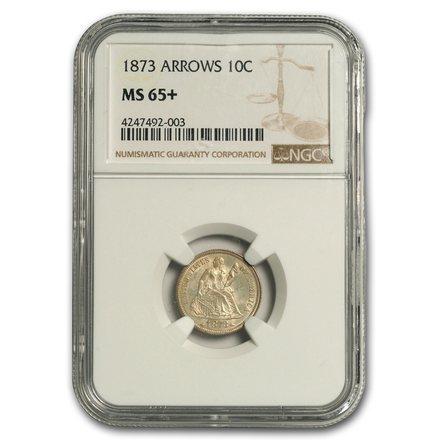 1873 Liberty Seated Dime w/Arrows MS-65+ NGC