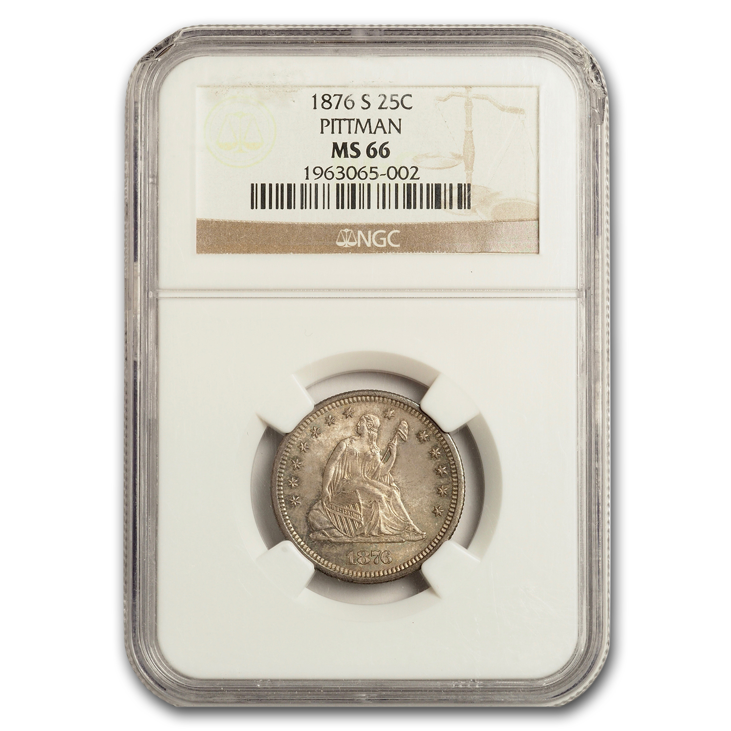1876-S Liberty Seated Quarter MS-66 NGC (CAC)