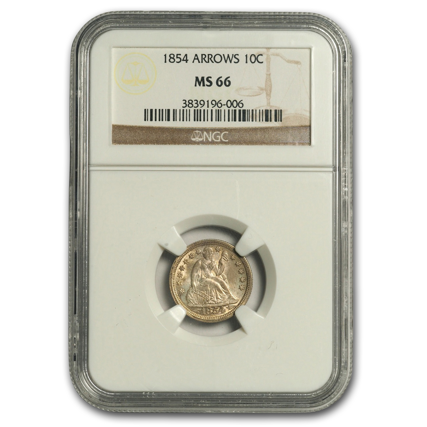 1854 Liberty Seated Dime w/Arrows MS-66 NGC