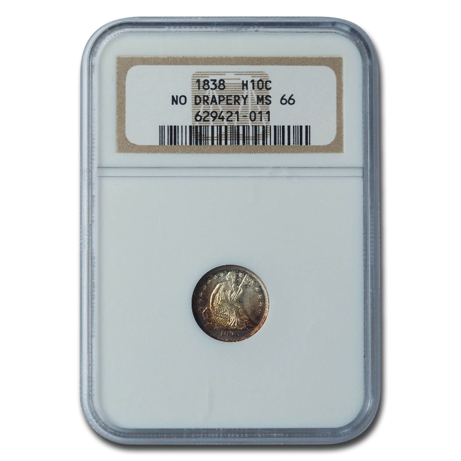 1838 Liberty Seated Half Dime MS-66 NGC (Large Stars, No Drapery)