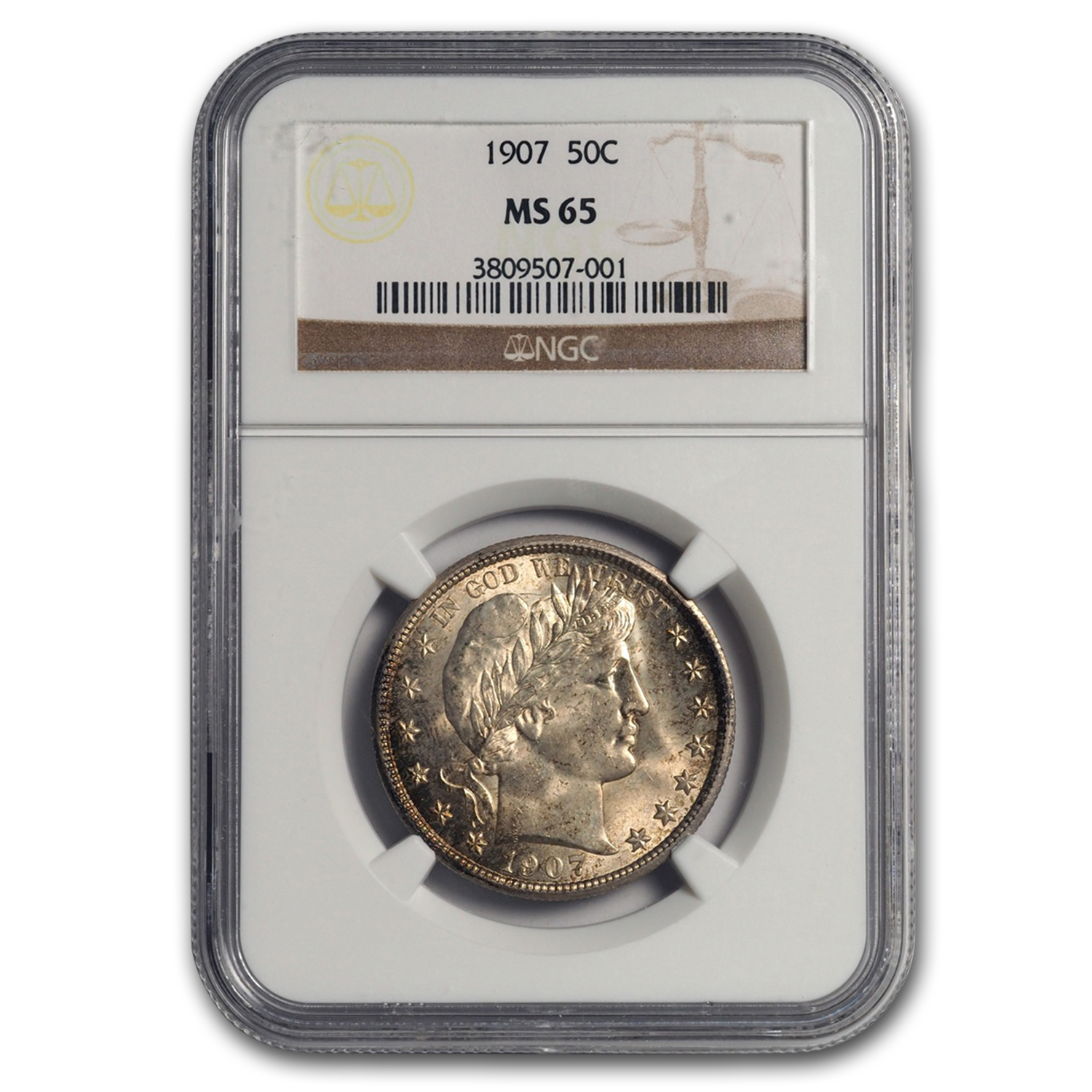 1907 Barber Half Dollar MS-65 NGC
