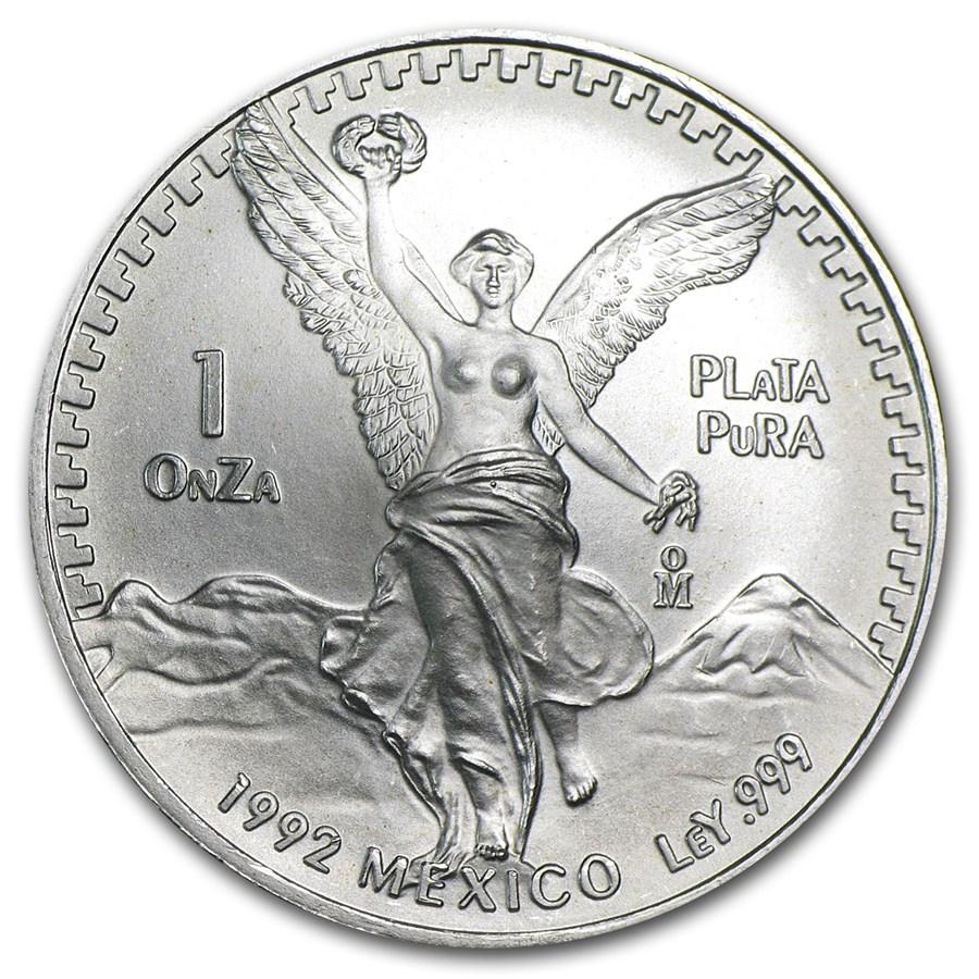 1992 Mexico 1 Oz Silver Libertad Bu 1 Oz Silver