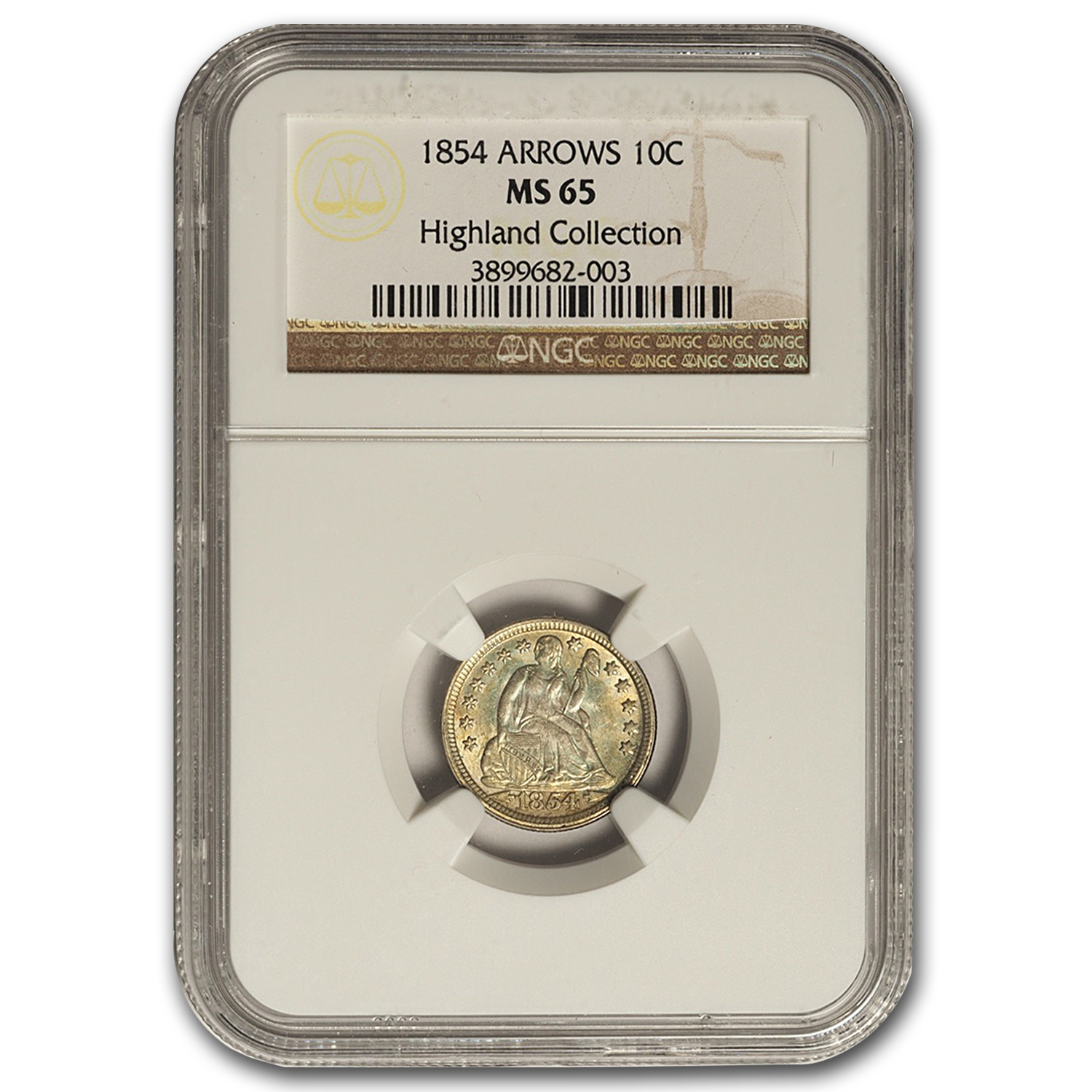 1854 Liberty Seated Dime w/Arrows MS-65 NGC