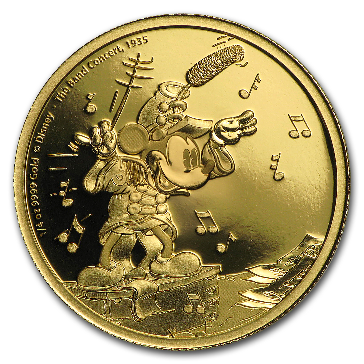 2016 Niue 1/4 oz Gold $25 Mickey Through the Ages: Band Concert