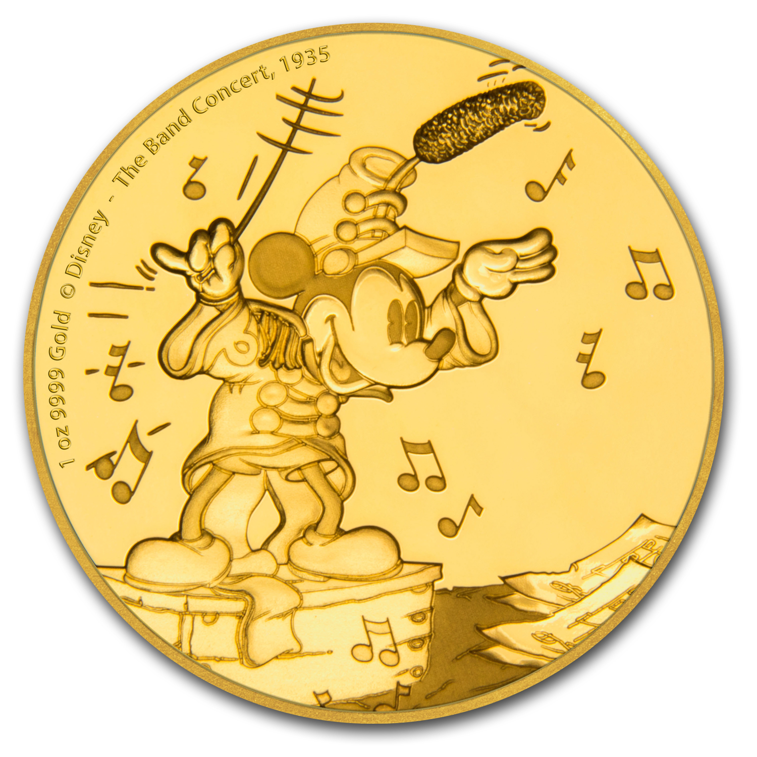 2016 Niue 1 oz Gold $250 Mickey Through the Ages: Band Concert