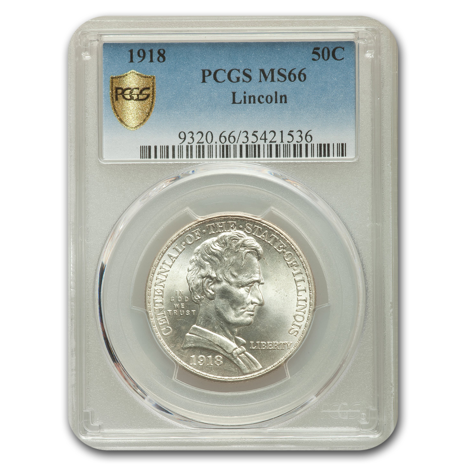 1918 Lincoln Illinois Centennial Half Dollar MS-66 PCGS