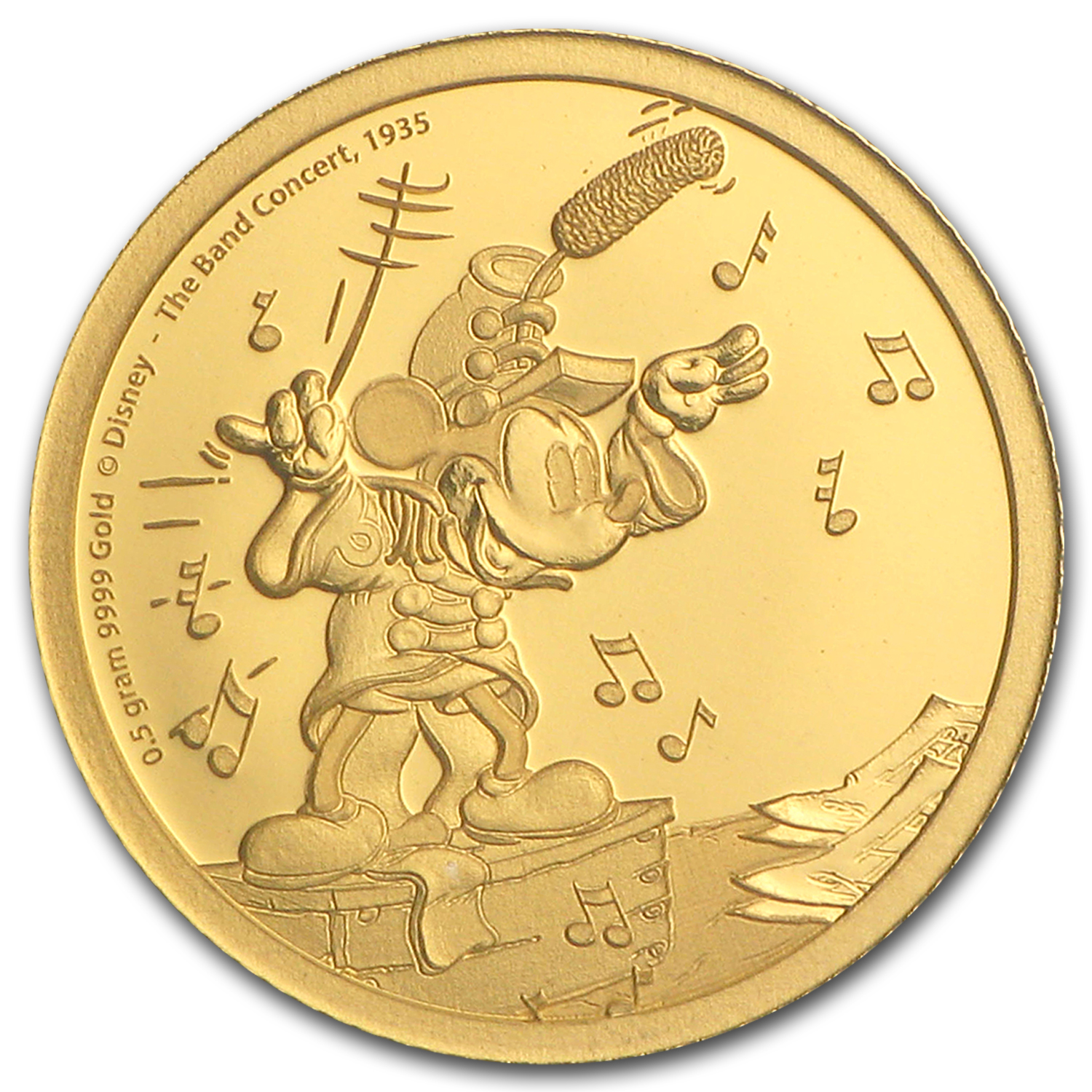 2016 Niue 1/2 g Gold $2.50 Mickey Through the Ages: Band Concert
