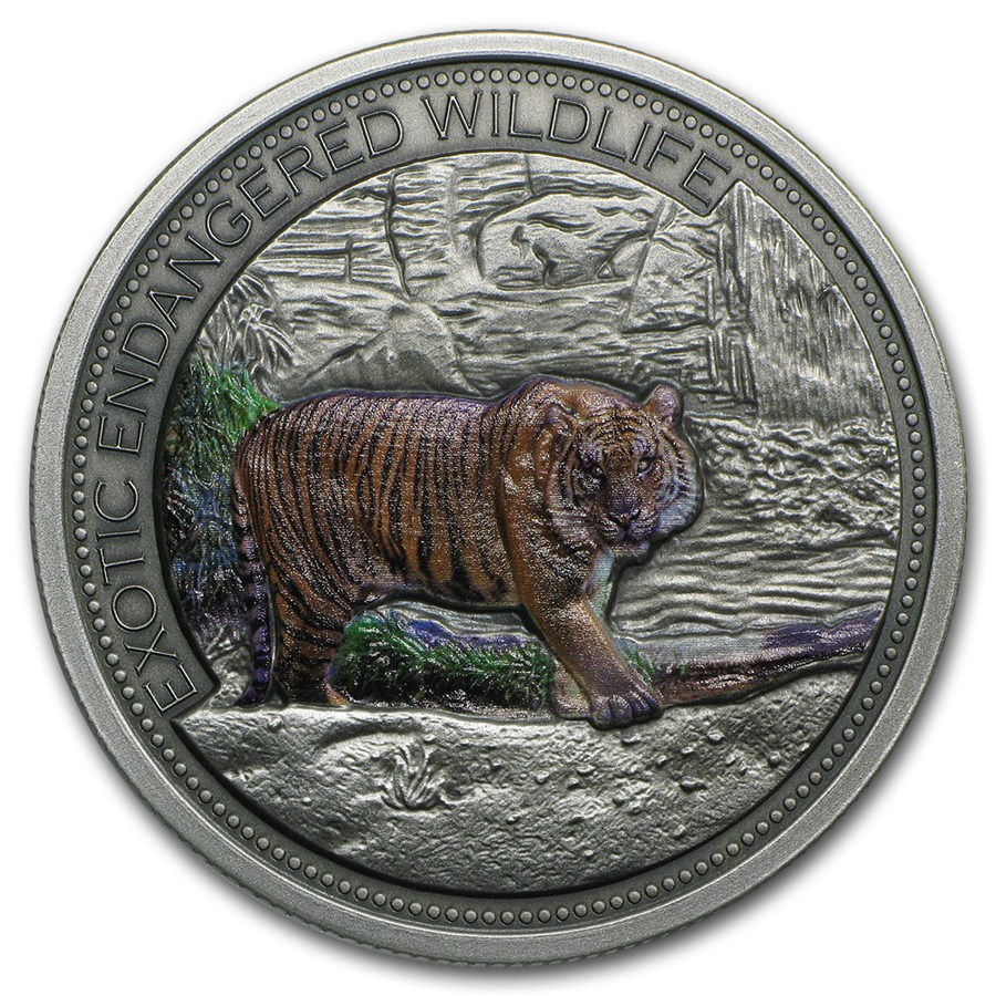 2016 Niue 2 Oz Silver 10 Malayan Tiger Colorized