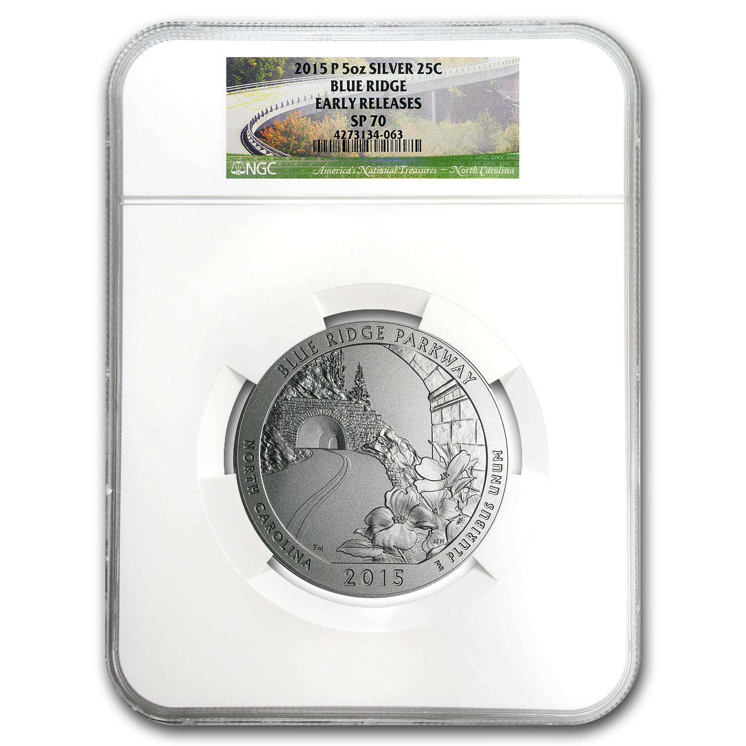 2015-P 5 oz Silver ATB Blue Ridge SP-70 NGC (Early Release)