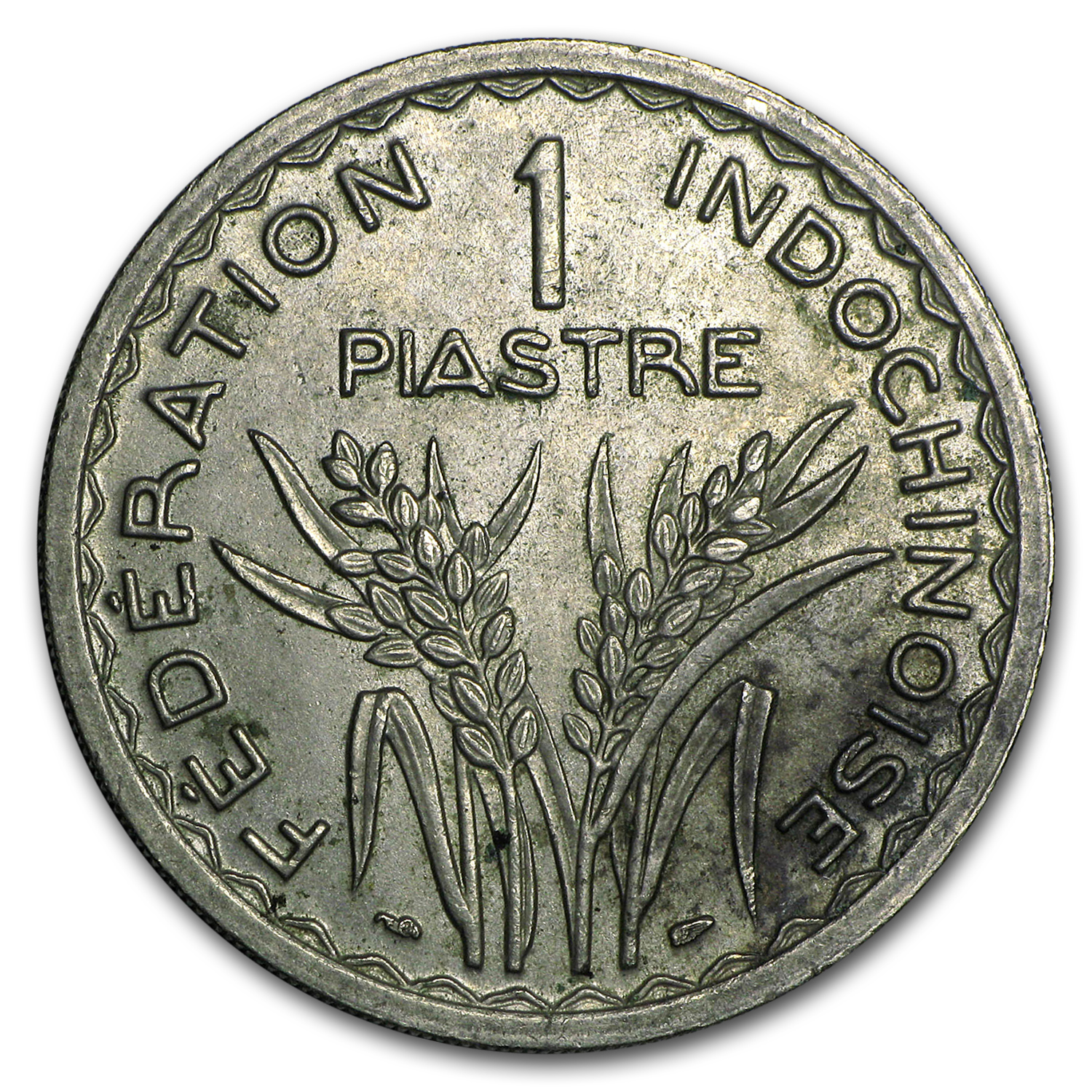 1947 French Indo-China One Piastre XF/AU