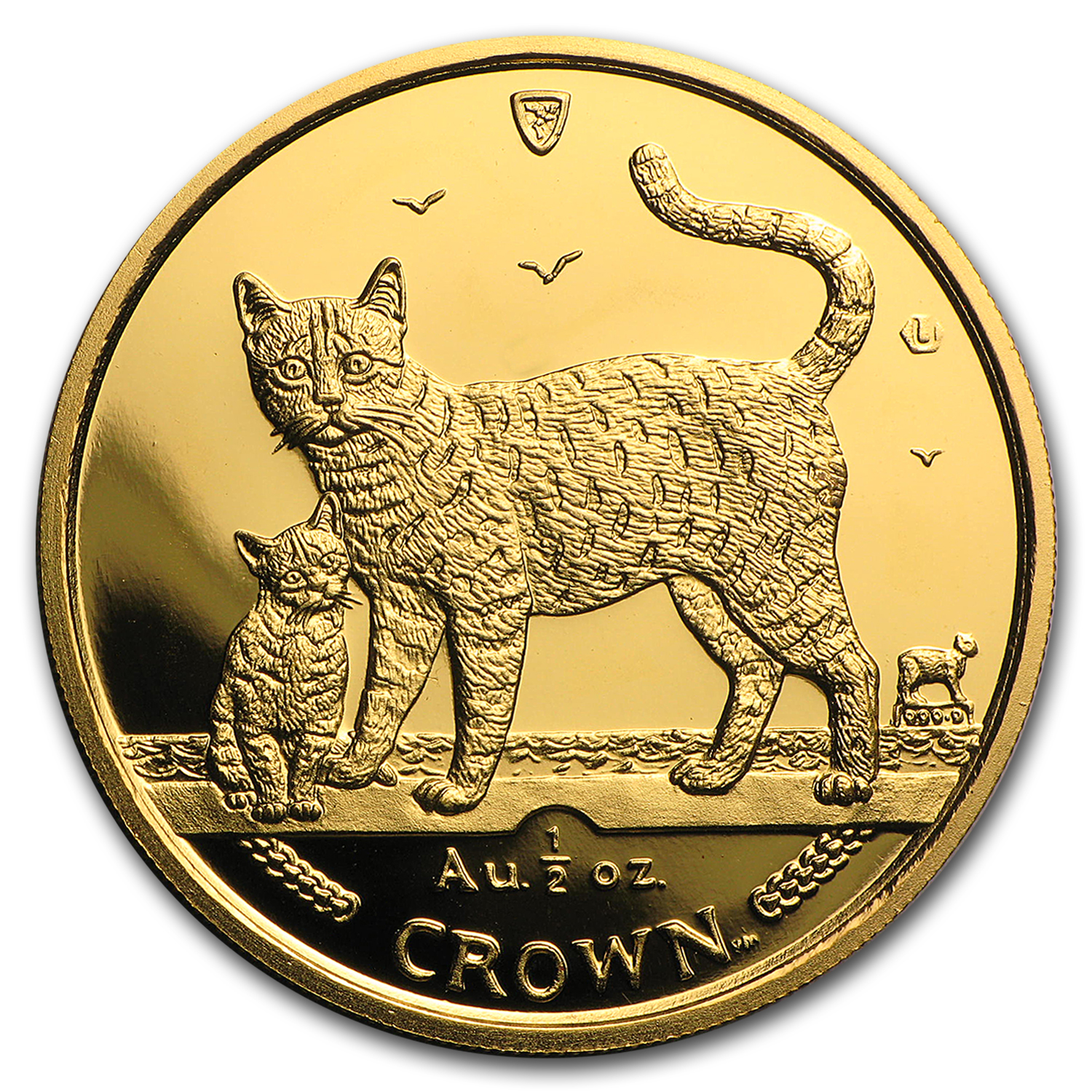 2002 Isle of Man 1/2 oz Gold Bengal Cat BU