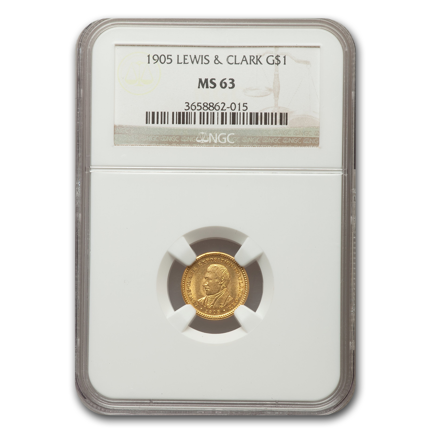 1905 Oregon Gold $1.00 Lewis and Clark Exposition MS-63 NGC