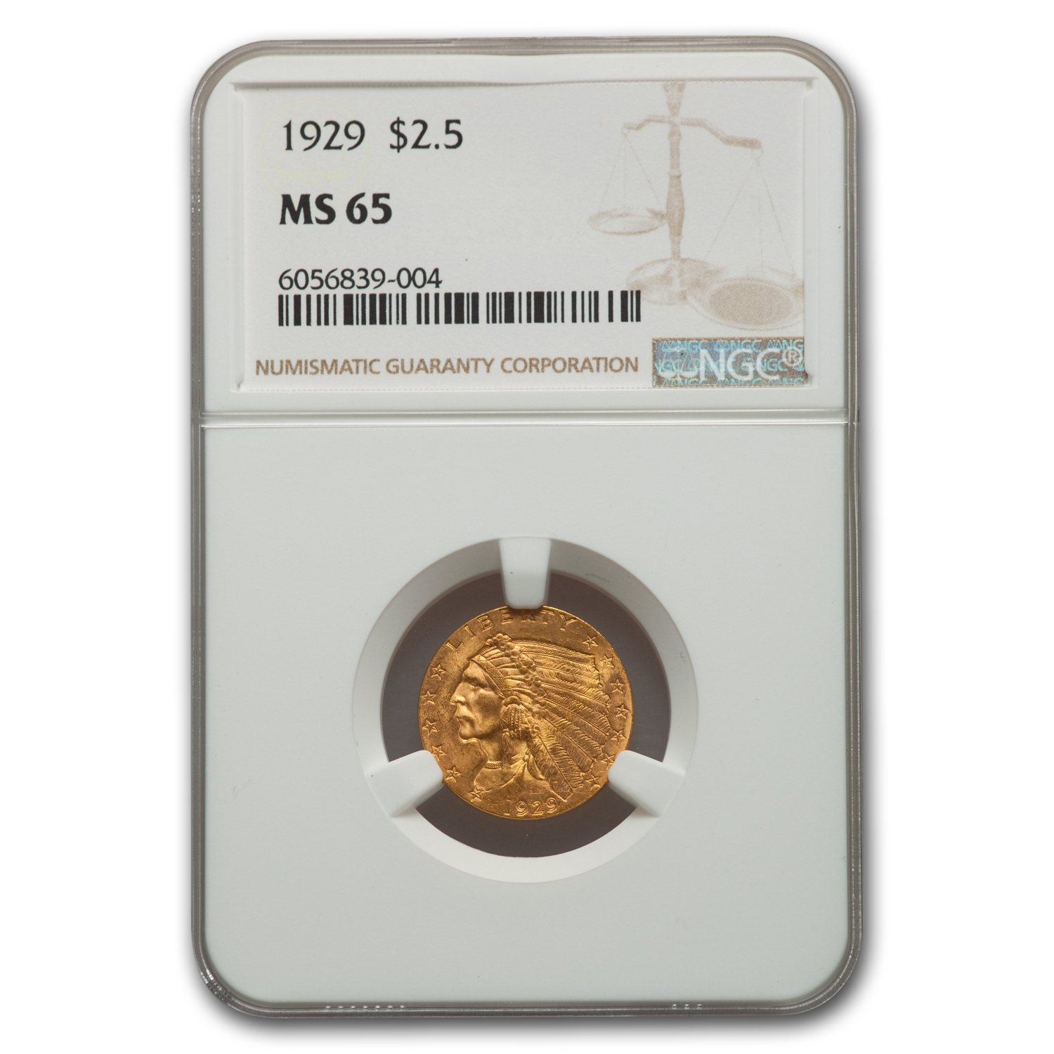 1929 $2.50 Indian Gold Quarter Eagle MS-65 NGC