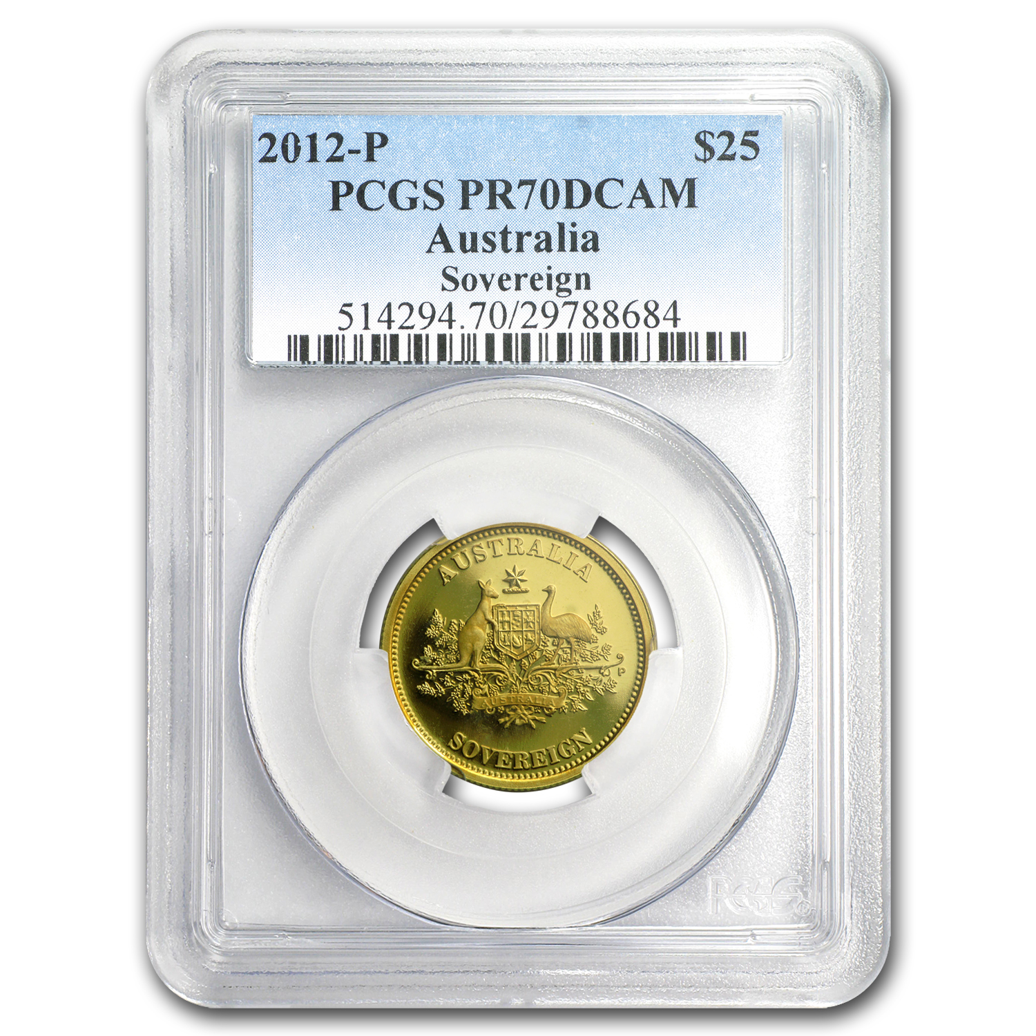 2012-P Australia Proof Gold $25 Sovereign PR-70 PCGS