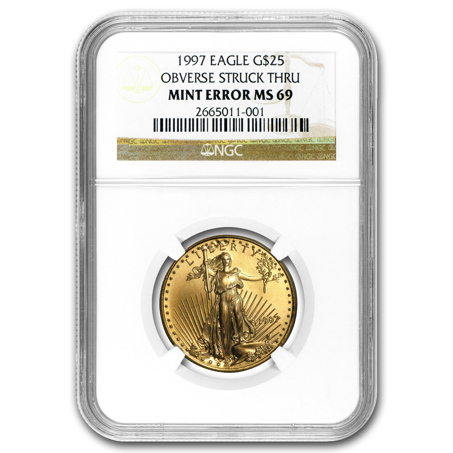 1997 1/2 oz Gold American Eagle MS-69 NGC (Obv Mint Error)