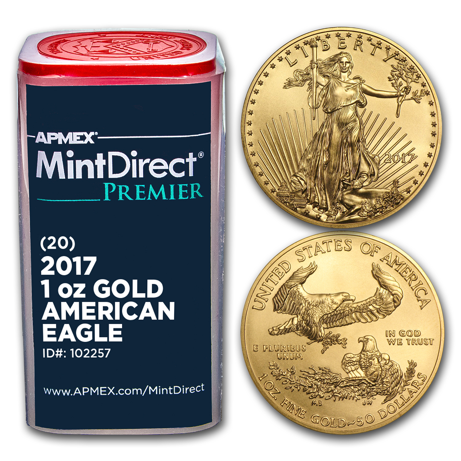 2017 1 oz Gold American Eagle (20-Coin MintDirect® Premier Tube)