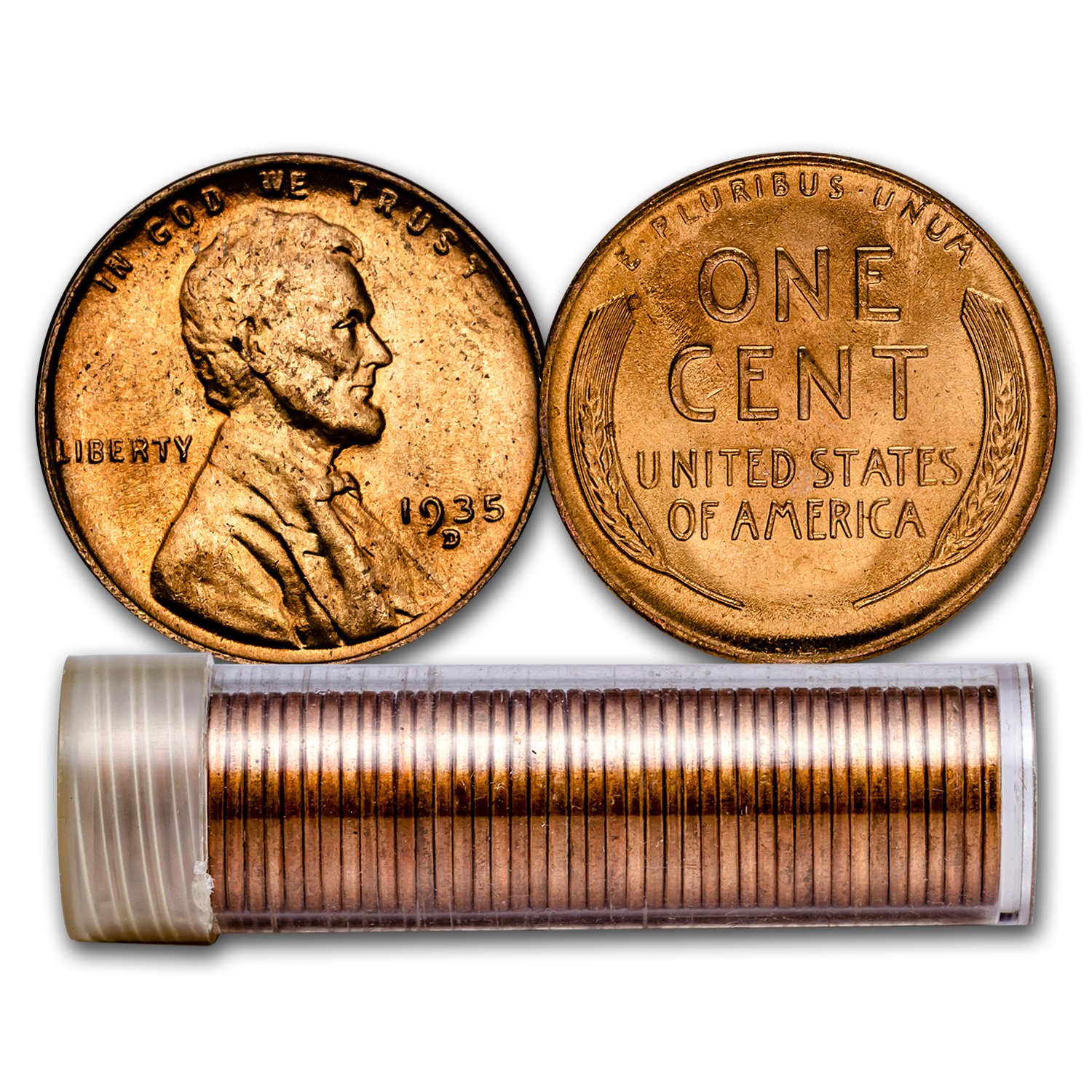 1935-D Lincoln Cent 50-Coin Roll BU