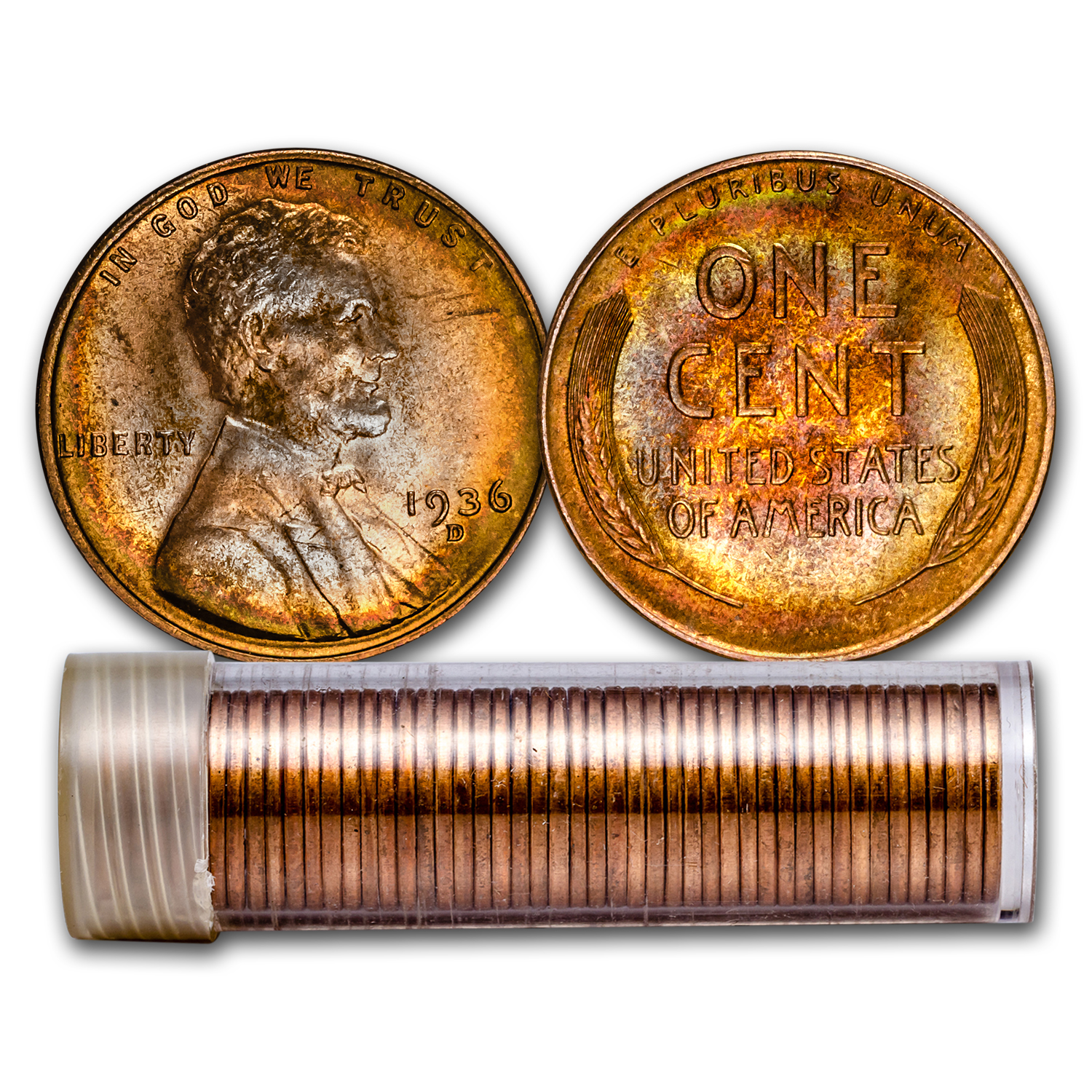 1936-D Lincoln Cent 50-Coin Roll BU