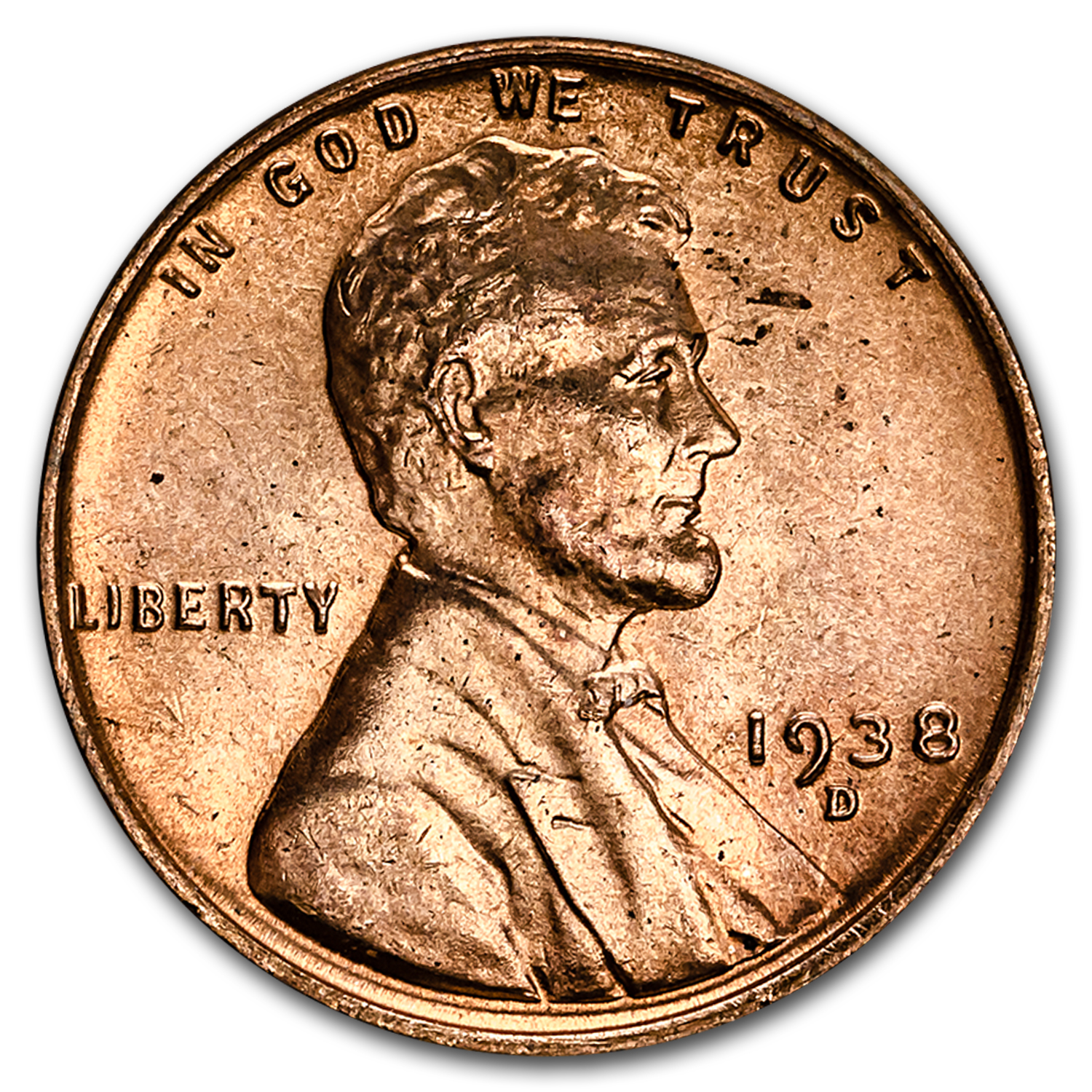 1938-D Lincoln Cent 50-Coin Roll BU