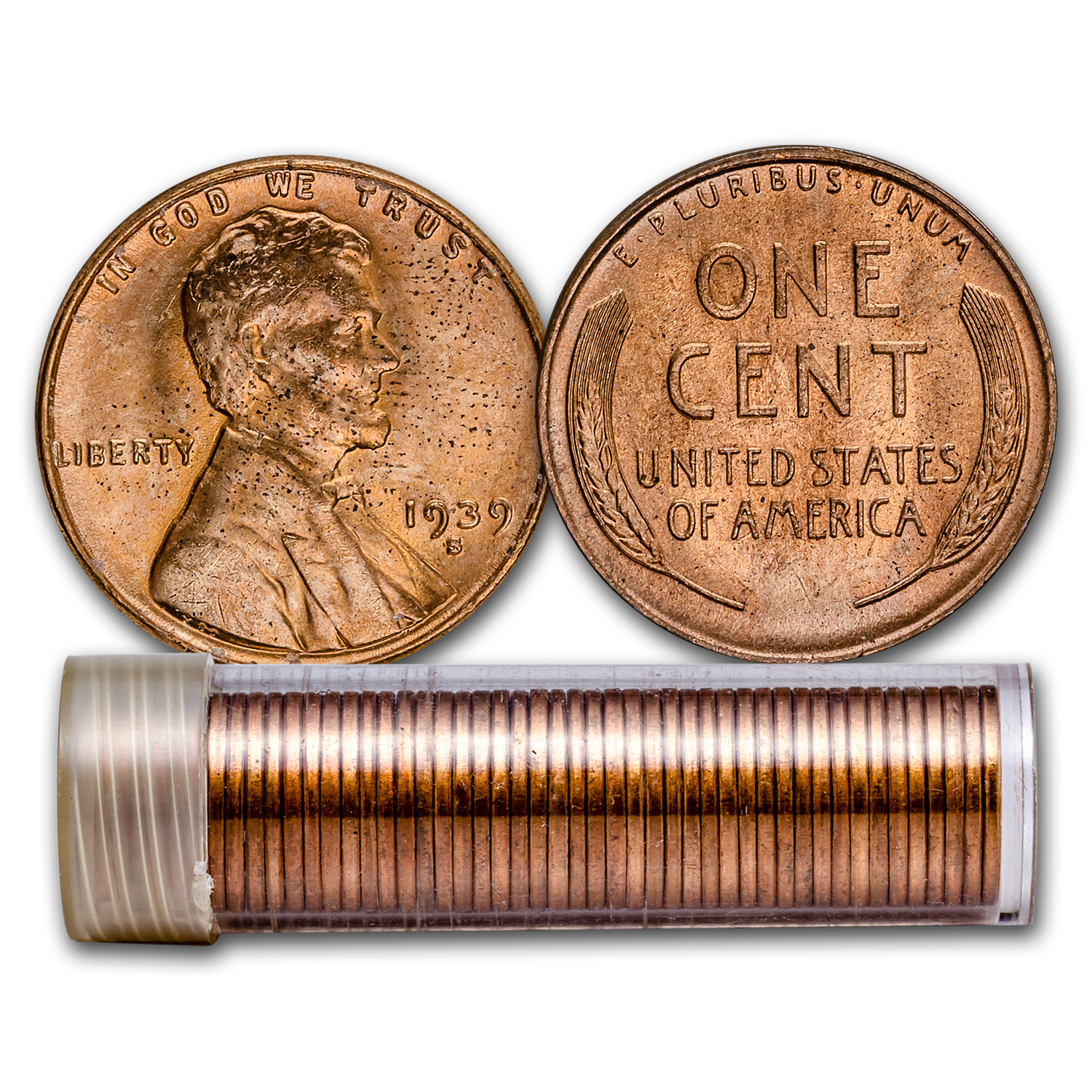 1939-S Lincoln Cent 50-Coin Roll BU