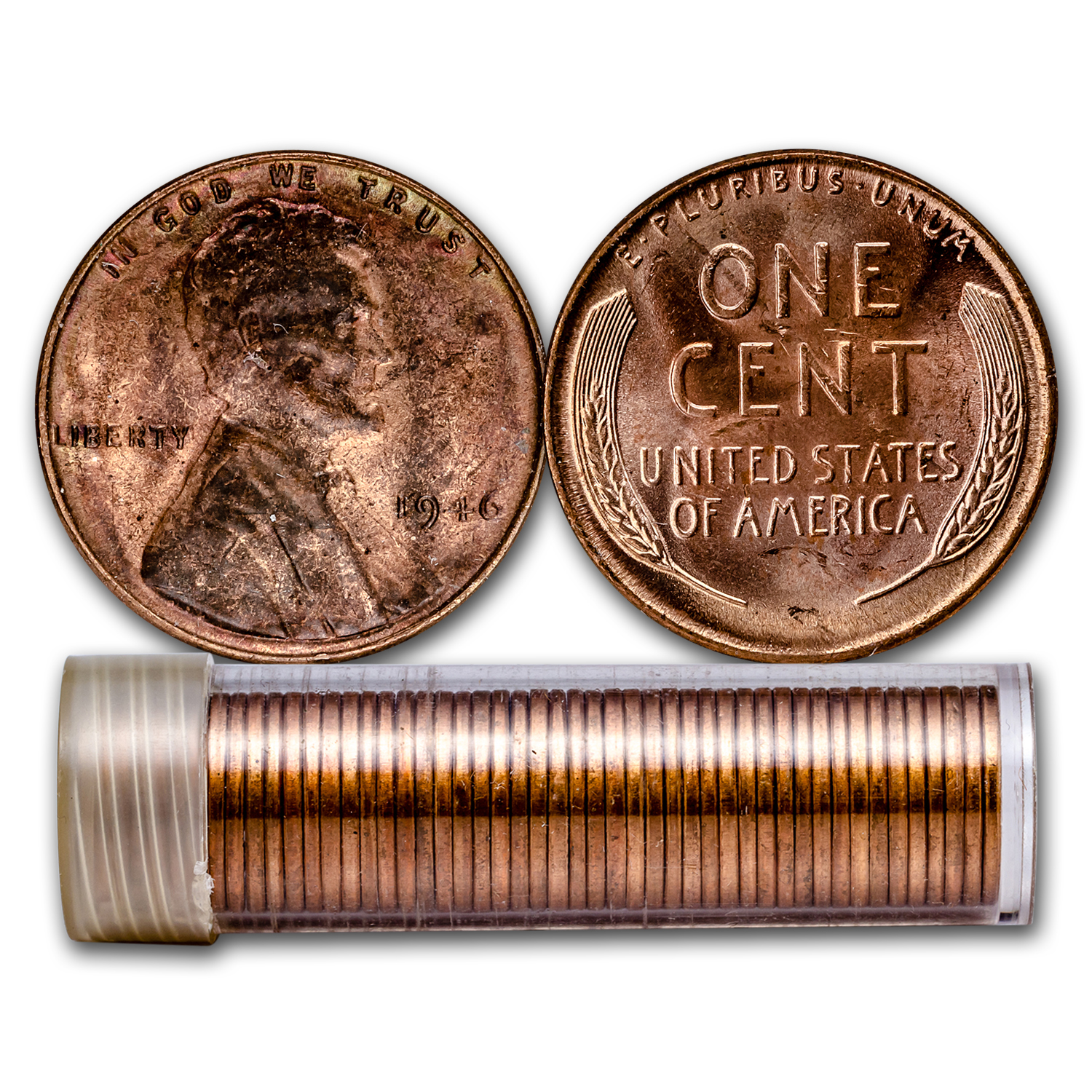 1946 Lincoln Cent 50 Coin Roll Bu Lincoln Wheat Cents