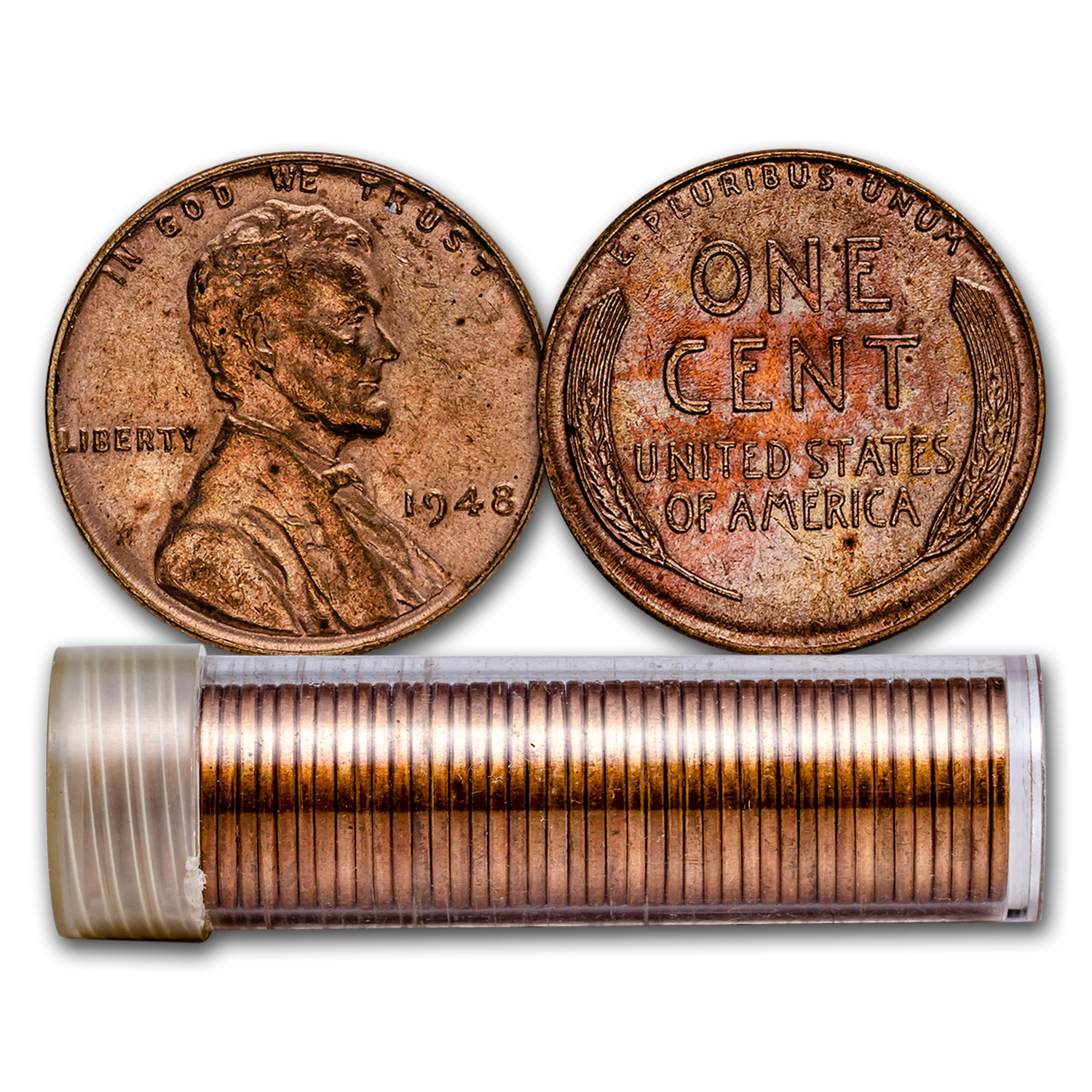 1948 Lincoln Cent 50-Coin Roll BU Red/Brown