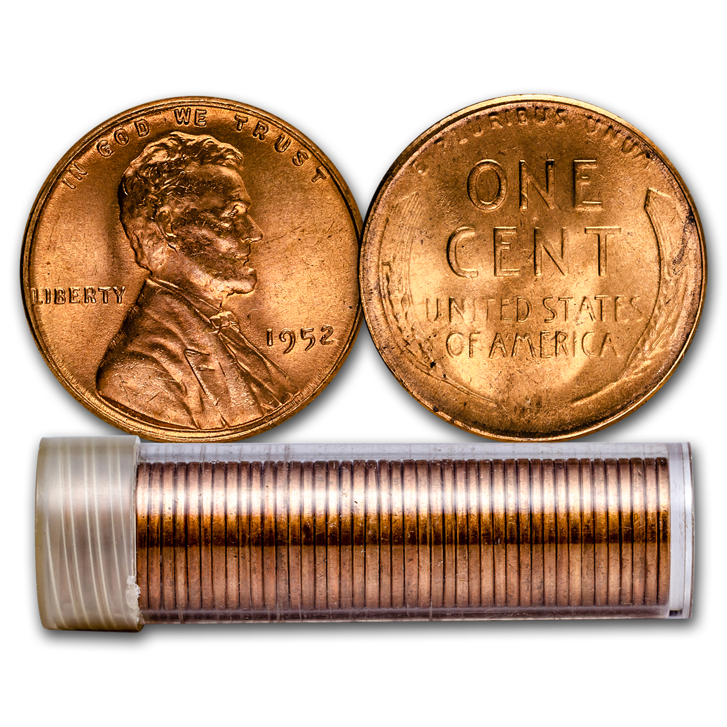 1952 Lincoln Cent 50-Coin Roll BU