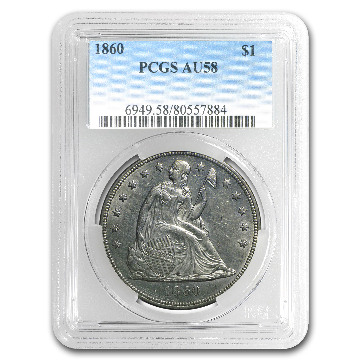 1860 Liberty Seated Dollar AU-58 PCGS